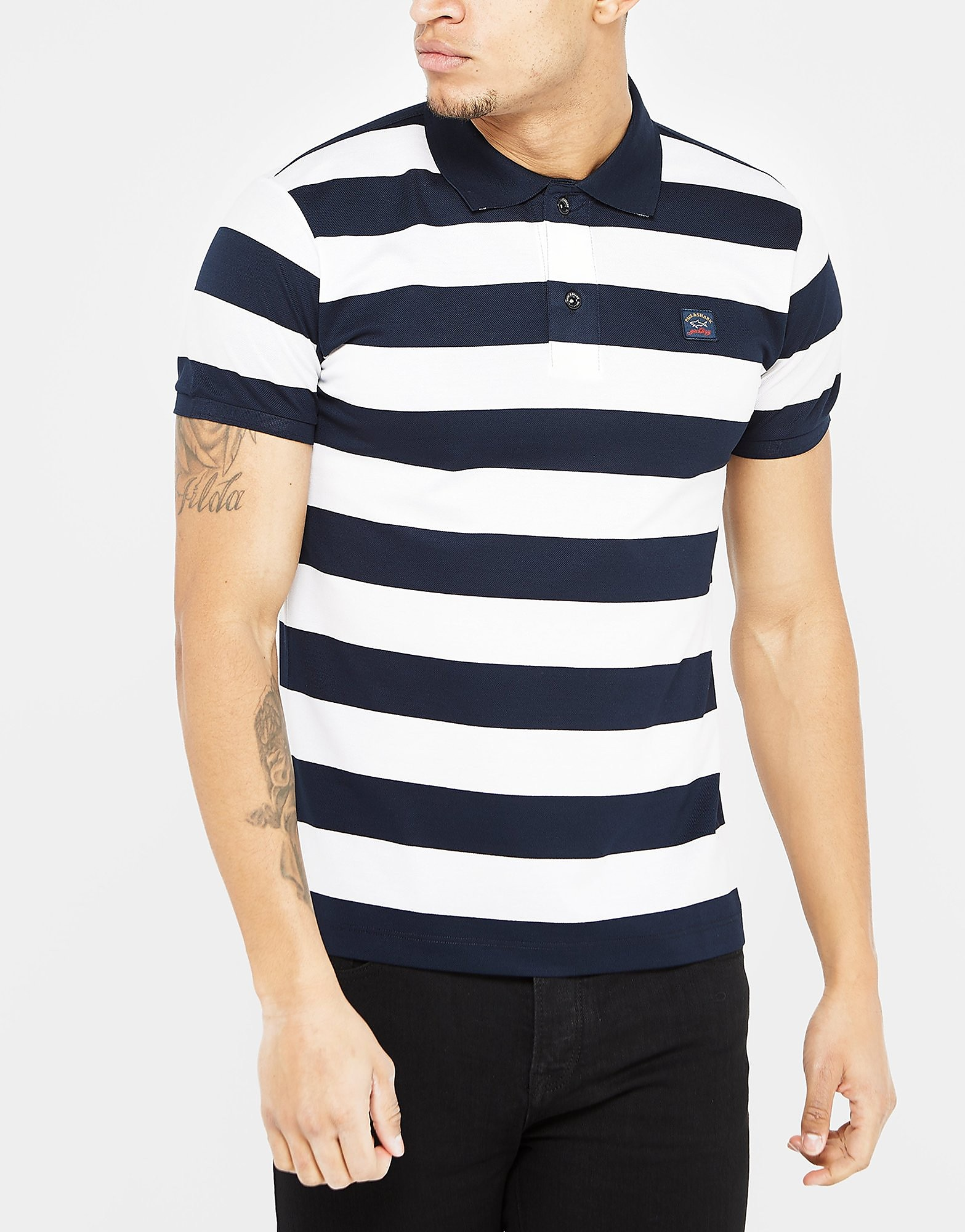 Paul & Shark Black Stripe Short Sleeve Polo Shirt