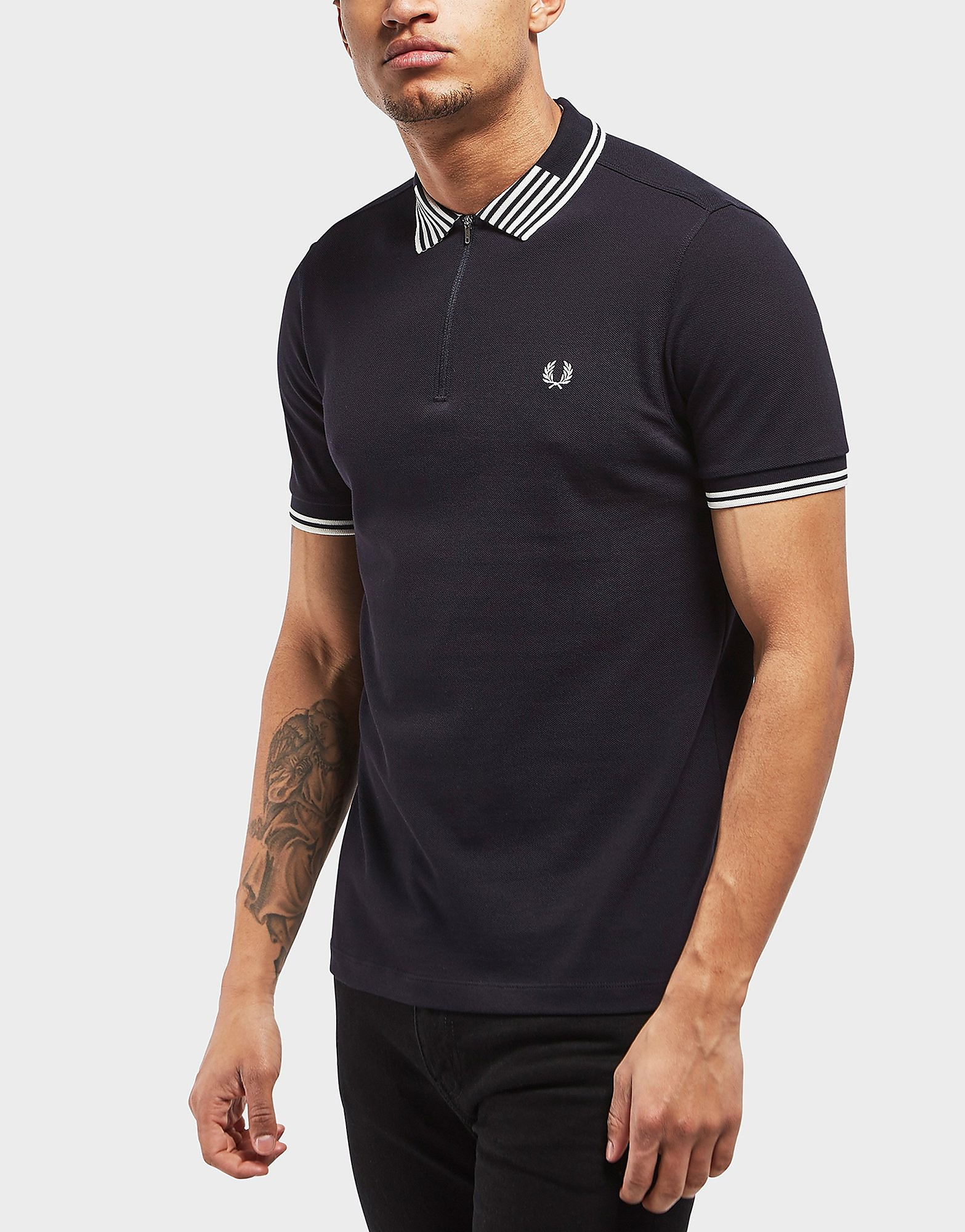 Fred Perry Striped Collar Pique Short Sleeve Polo Shirt