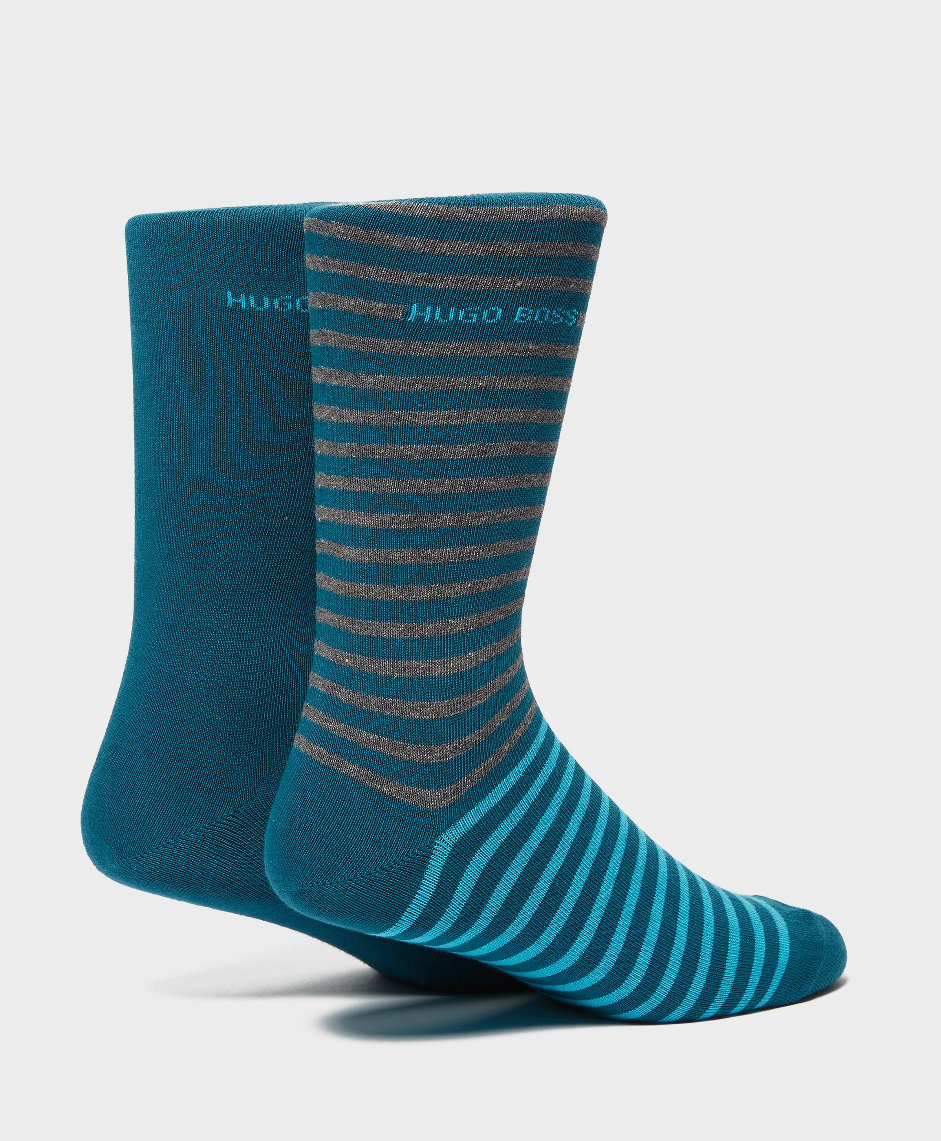 BOSS 2 Pack Stripe Socks