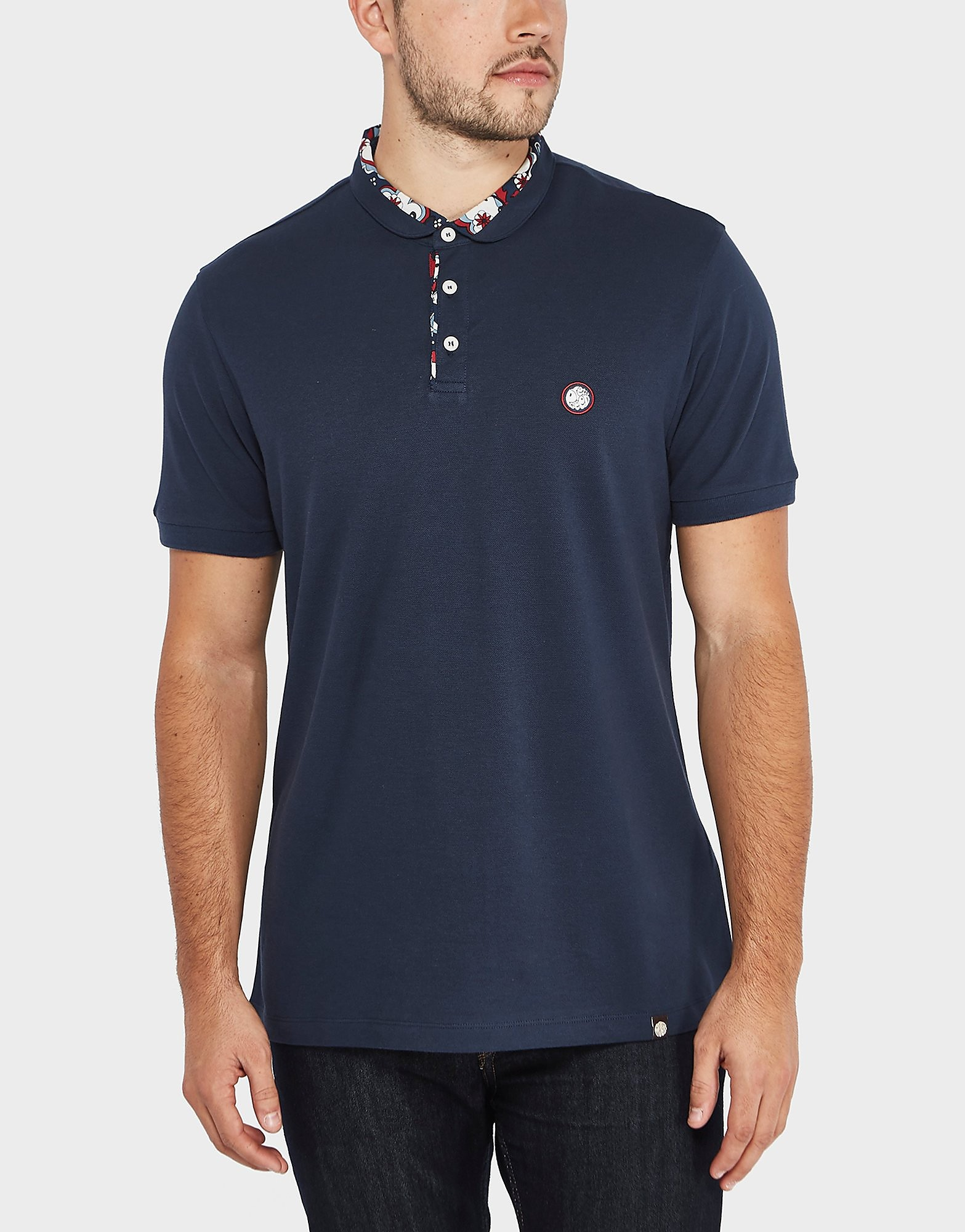 Pretty Green Floral Print Collar Short Sleeve Polo Shirt