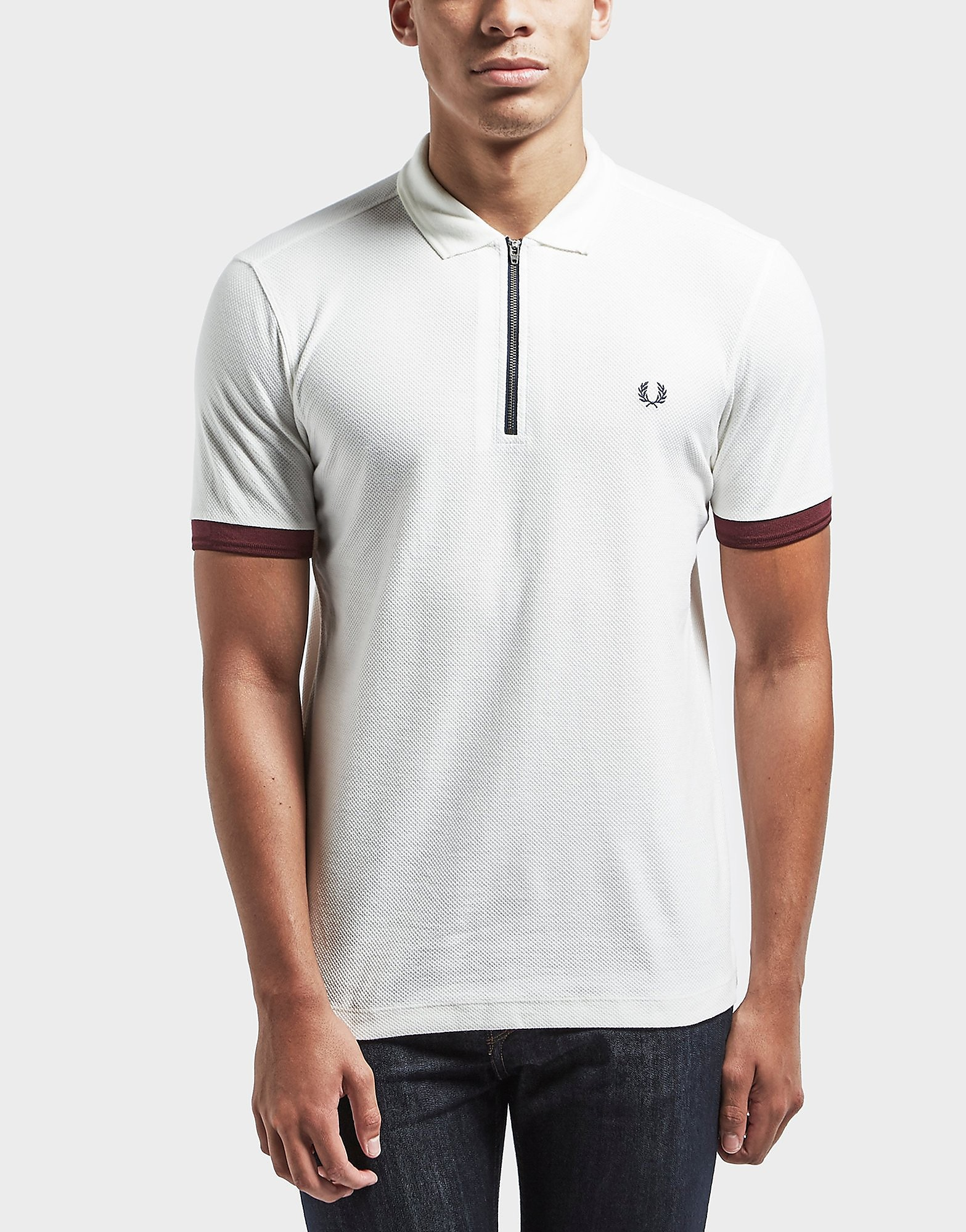 Fred Perry Pique Zip Neck Short Sleeve Polo Shirt