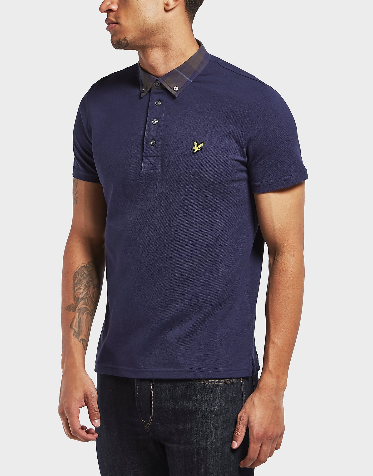 Lyle & Scott Check Collar Short Sleeve Polo Shirt
