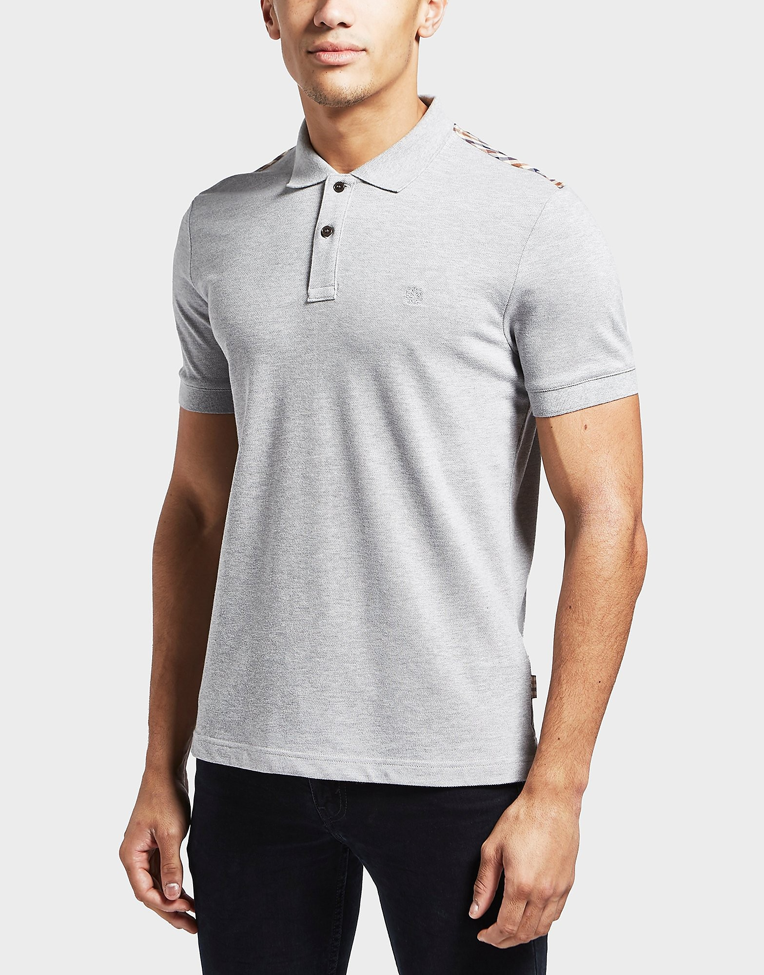 Aquascutum Hill Check Shoulder Short Sleeve Polo Shirt
