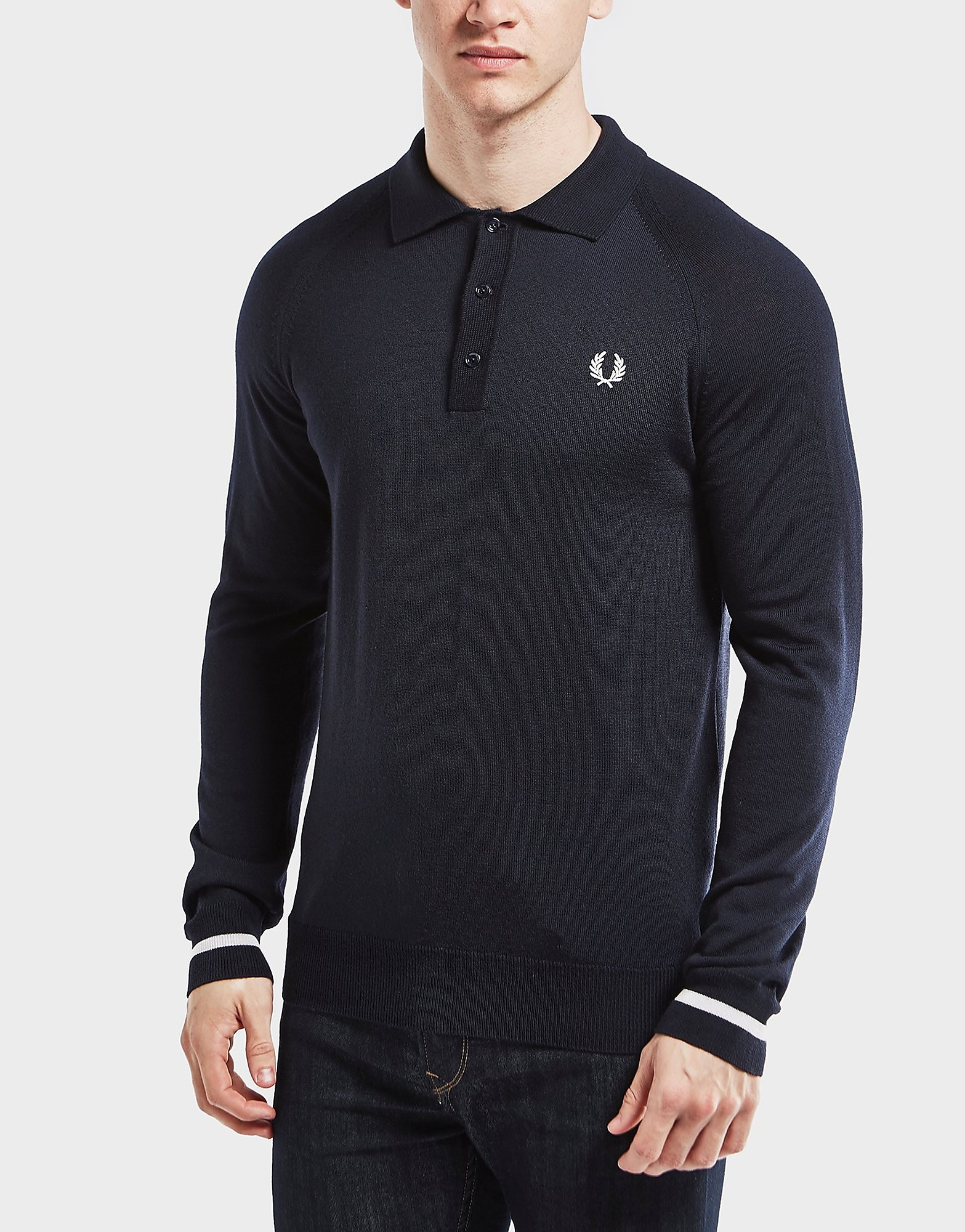 Fred Perry Tipped Knit Long Sleeve Polo Shirt