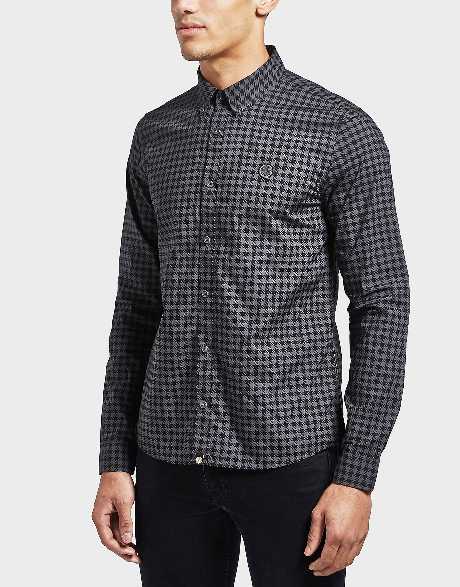Pretty Green Houndstooth Long Sleeve Shirt
