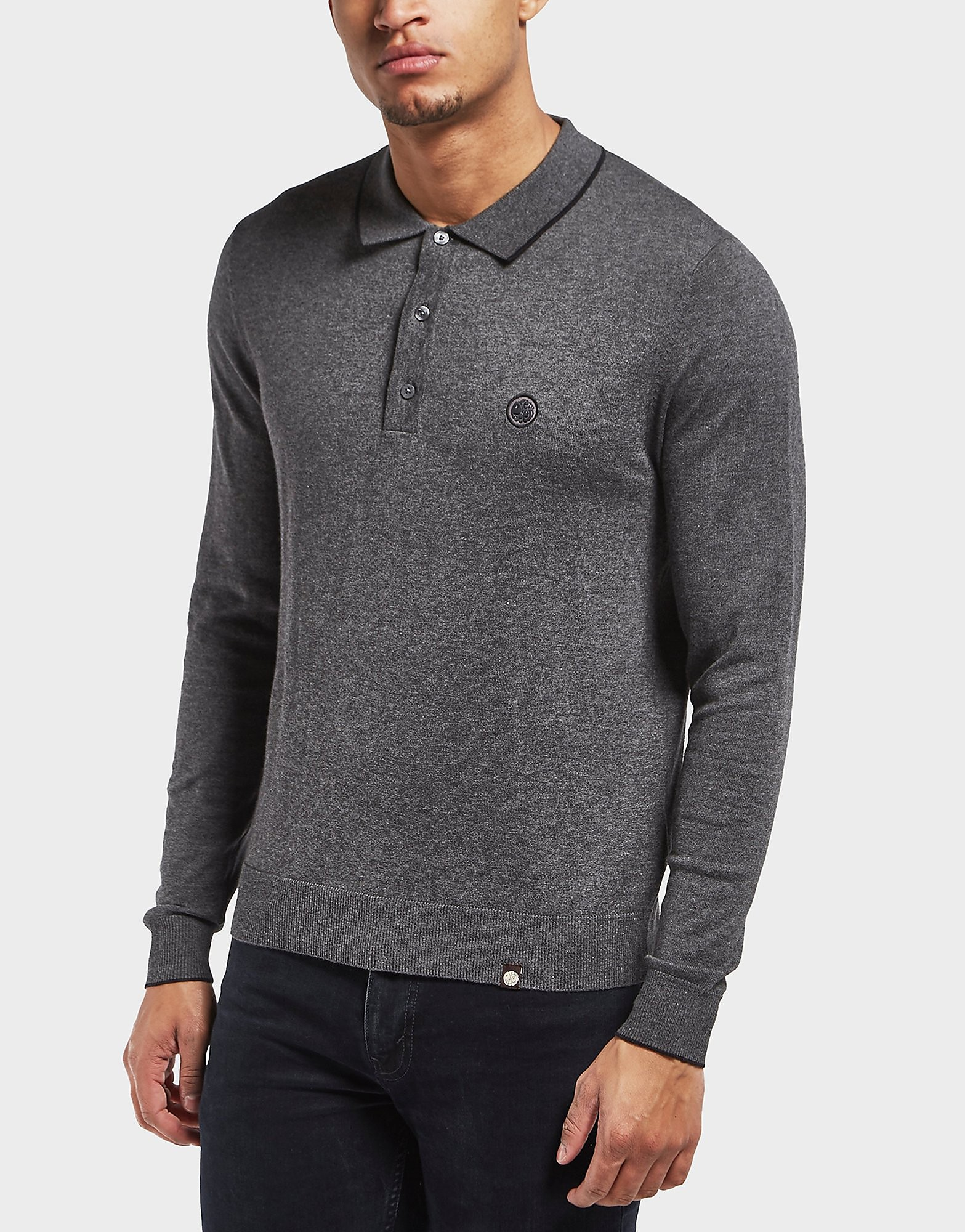 Pretty Green Knitted Long Sleeve Polo Shirt