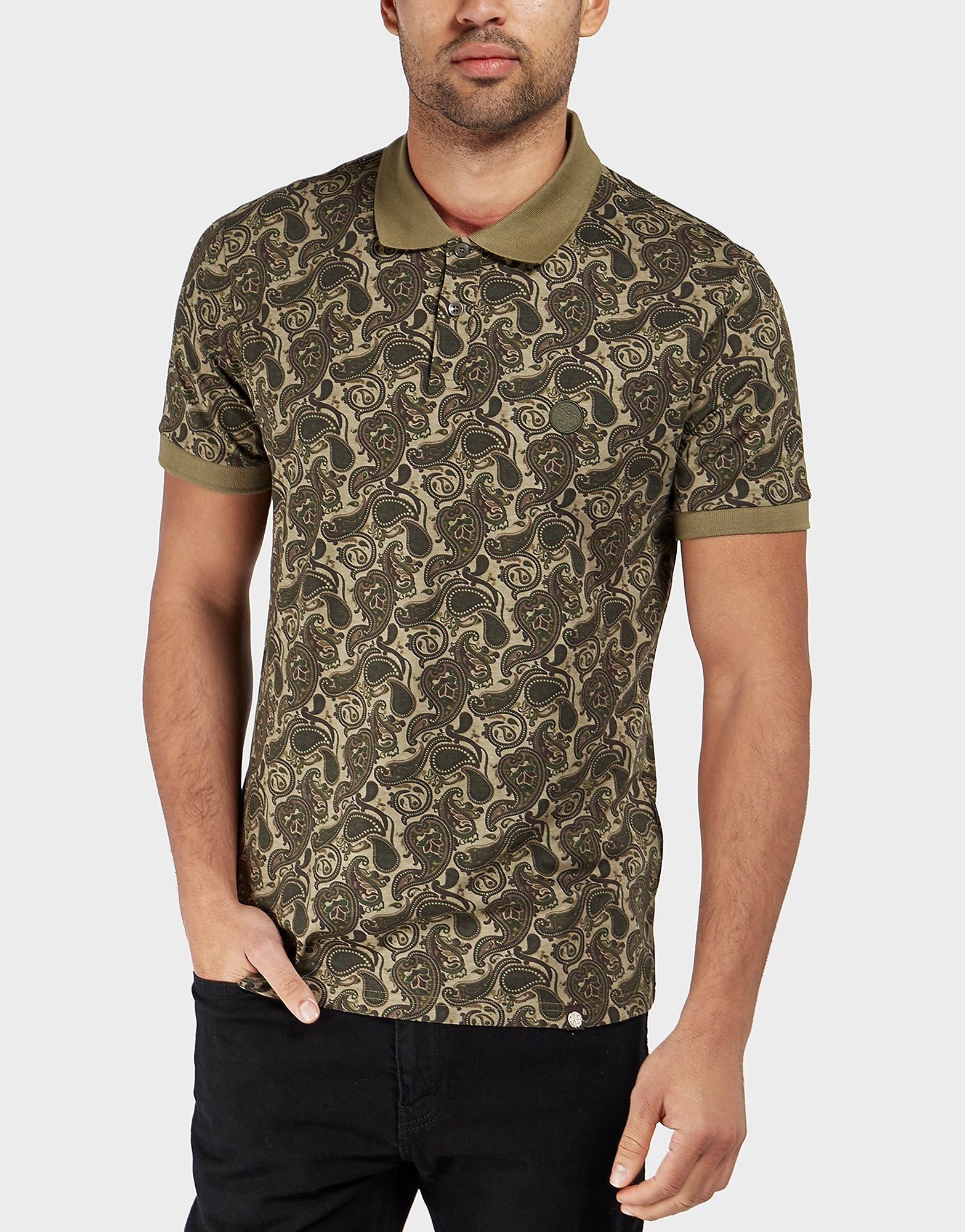 Pretty Green Camo Paisley Short Sleeve Polo Shirt