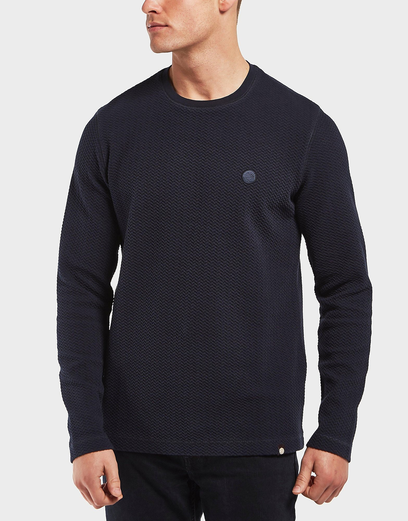 Pretty Green Percy Textured Long Sleeve T-Shirt