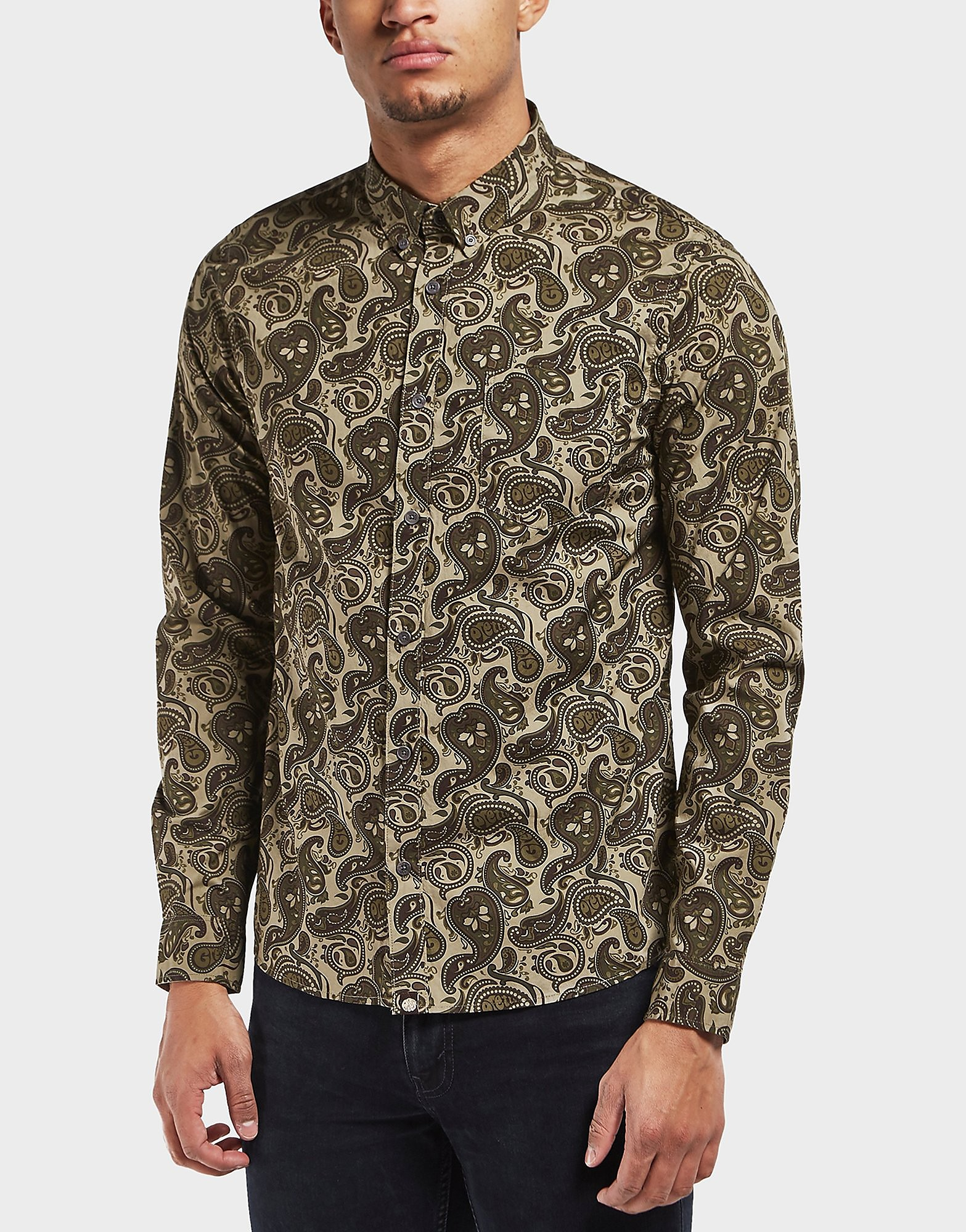 Pretty Green Camo Paisley Long Sleeve Shirt