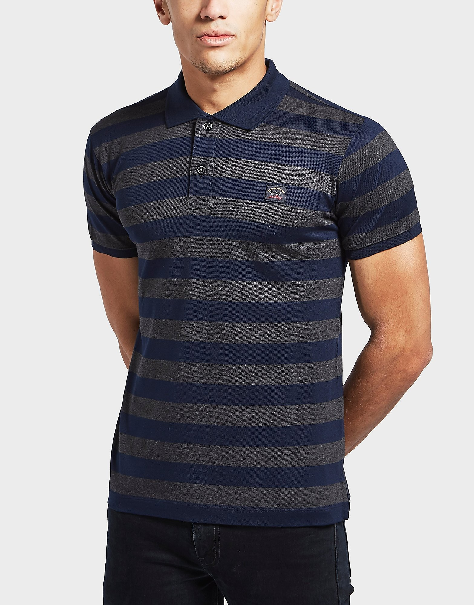 Paul and Shark Pique Striped Short Sleeve Polo Shirt
