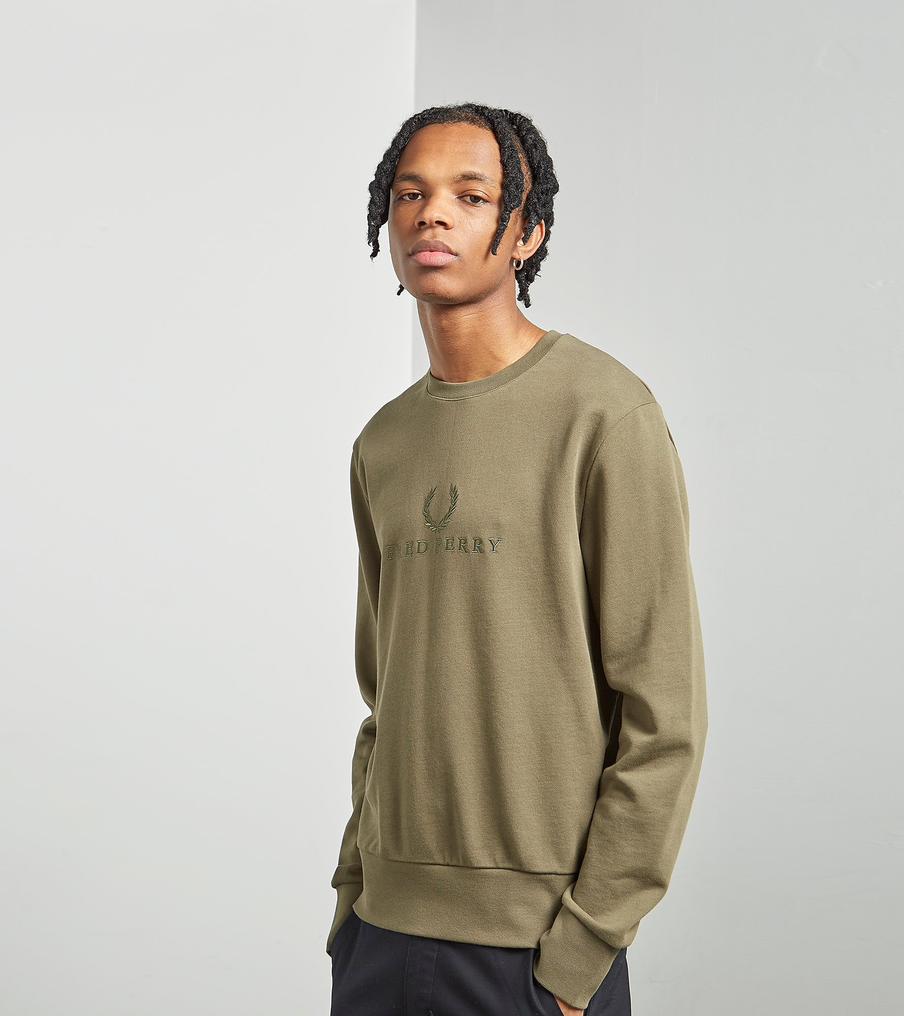 Fred Perry Tonal Embroidered Crew Sweatshirt
