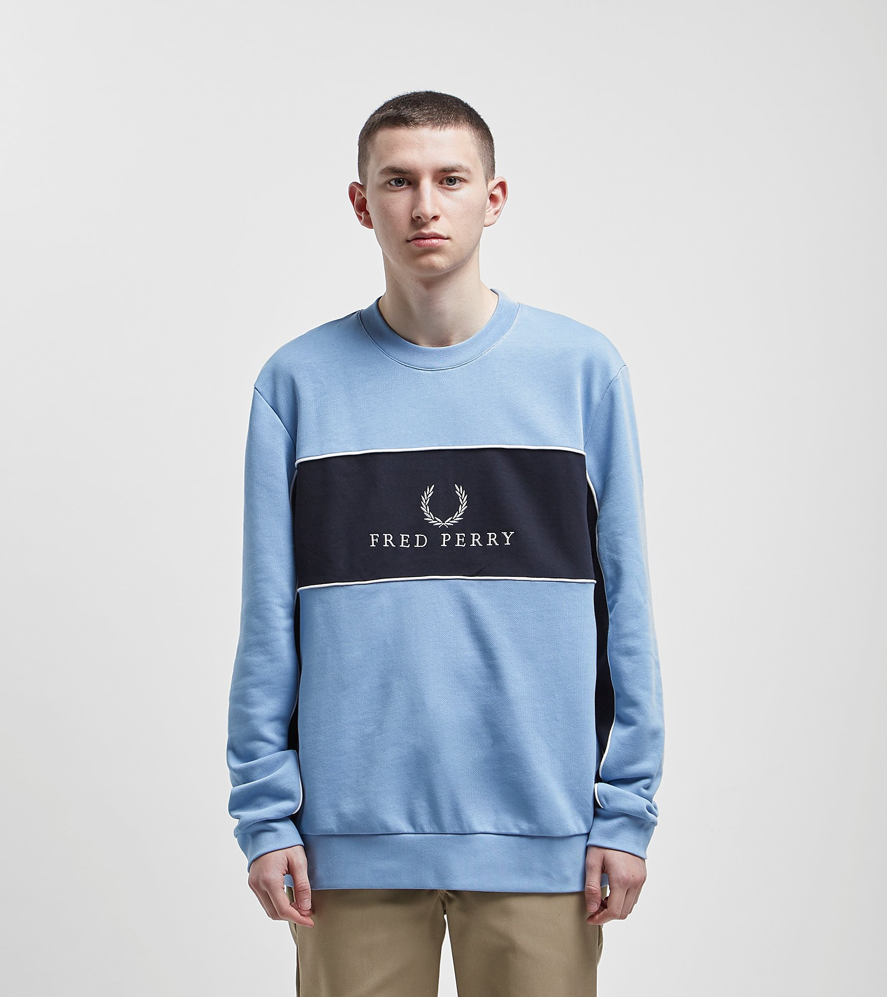 Fred Perry Centre Panel Sweatshirt Blue