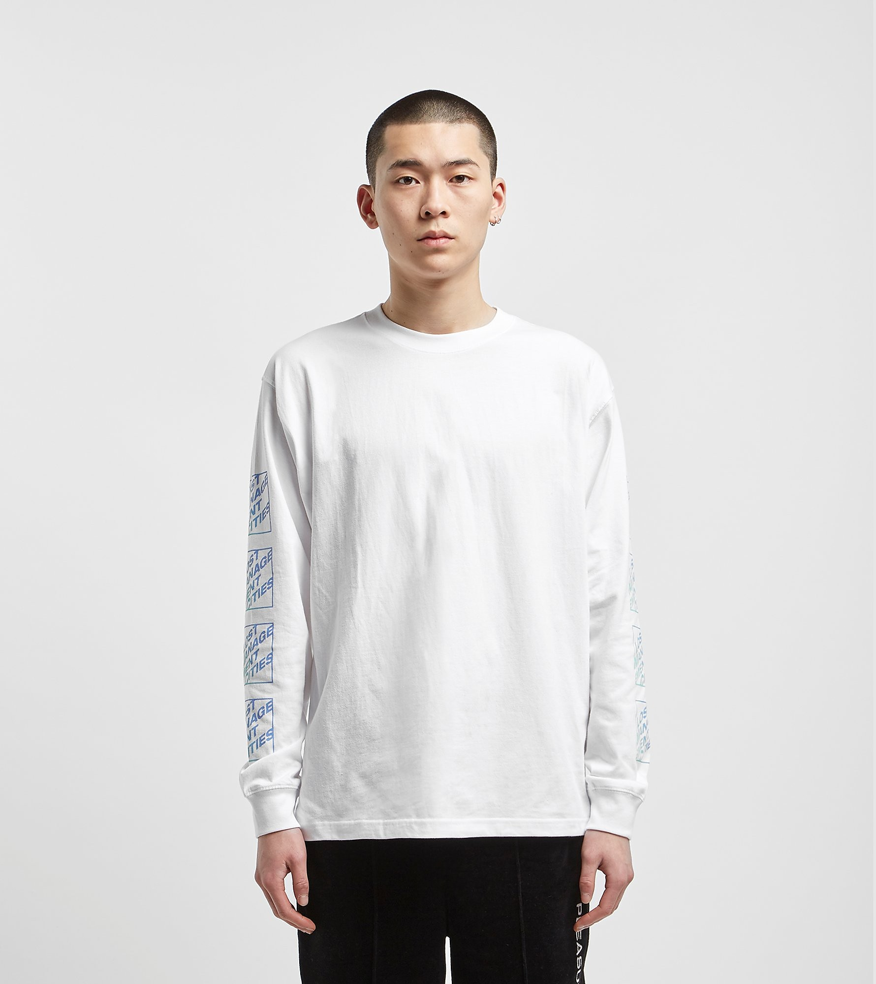 Lost Management Cities Italic Logo Long Sleeved T-Shirt, Wit
