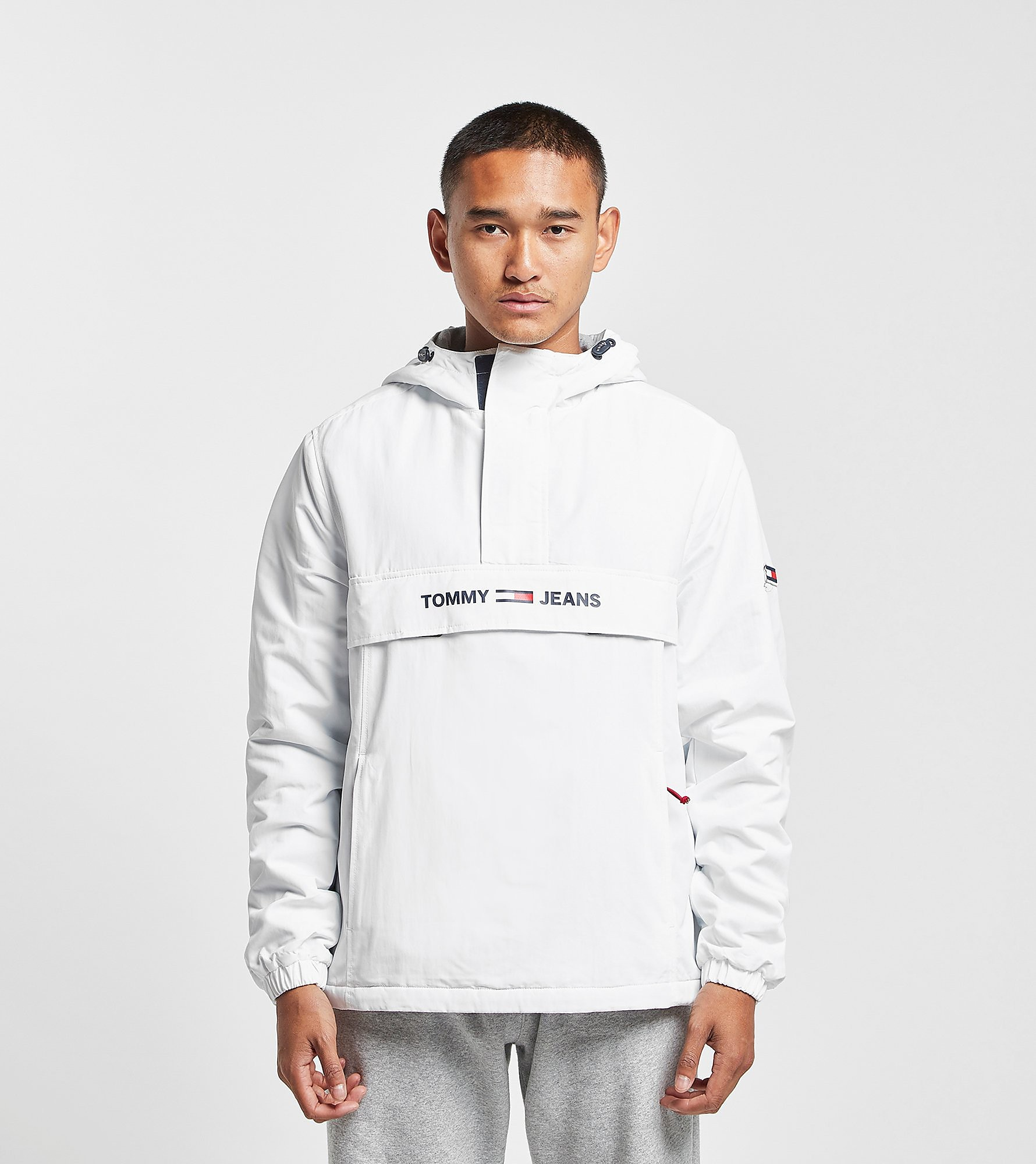 Tommy Jeans Giacca Padded Popover Half Zip, Bianco