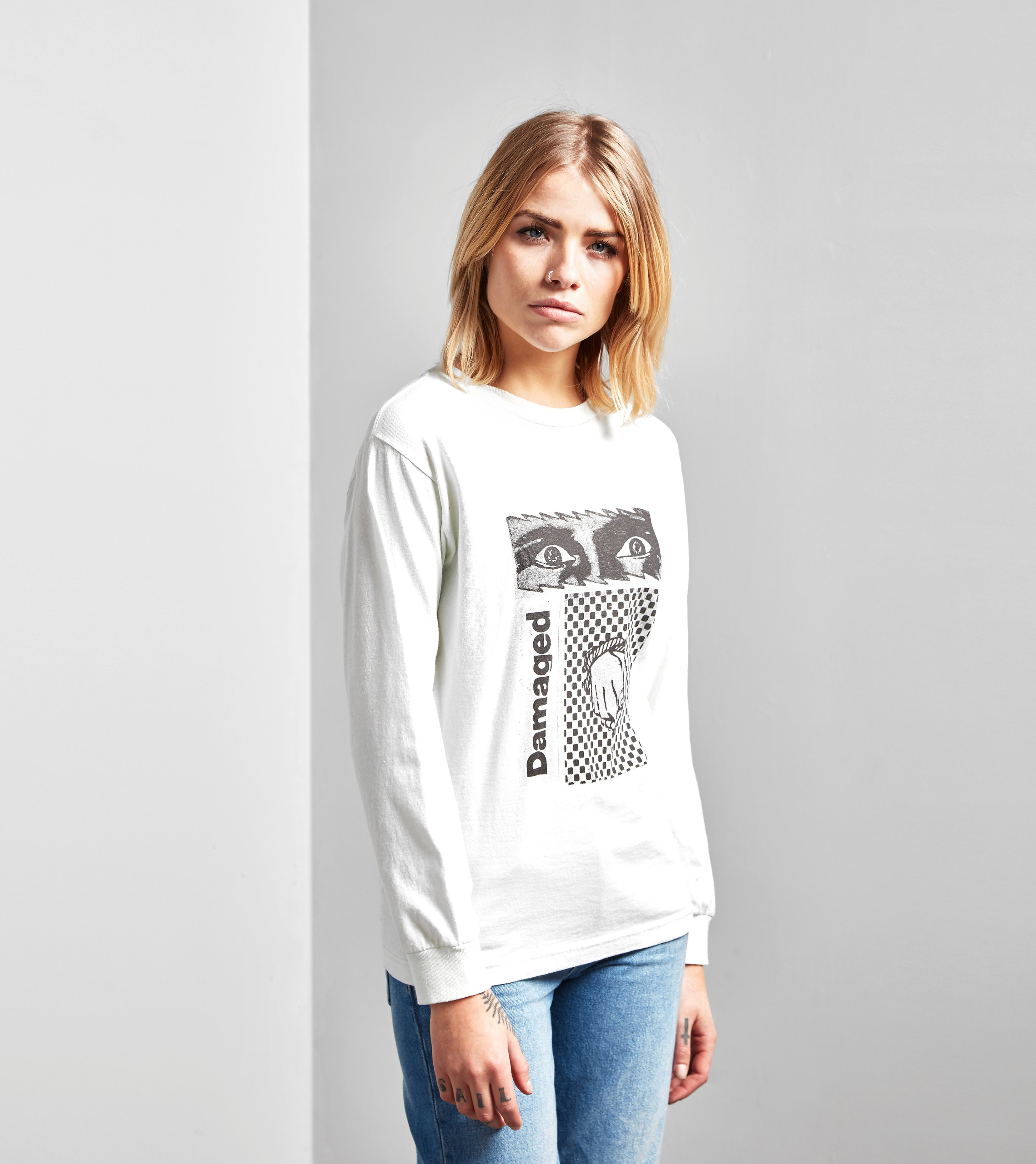 Obey Long-Sleeved Damaged T-Shirt