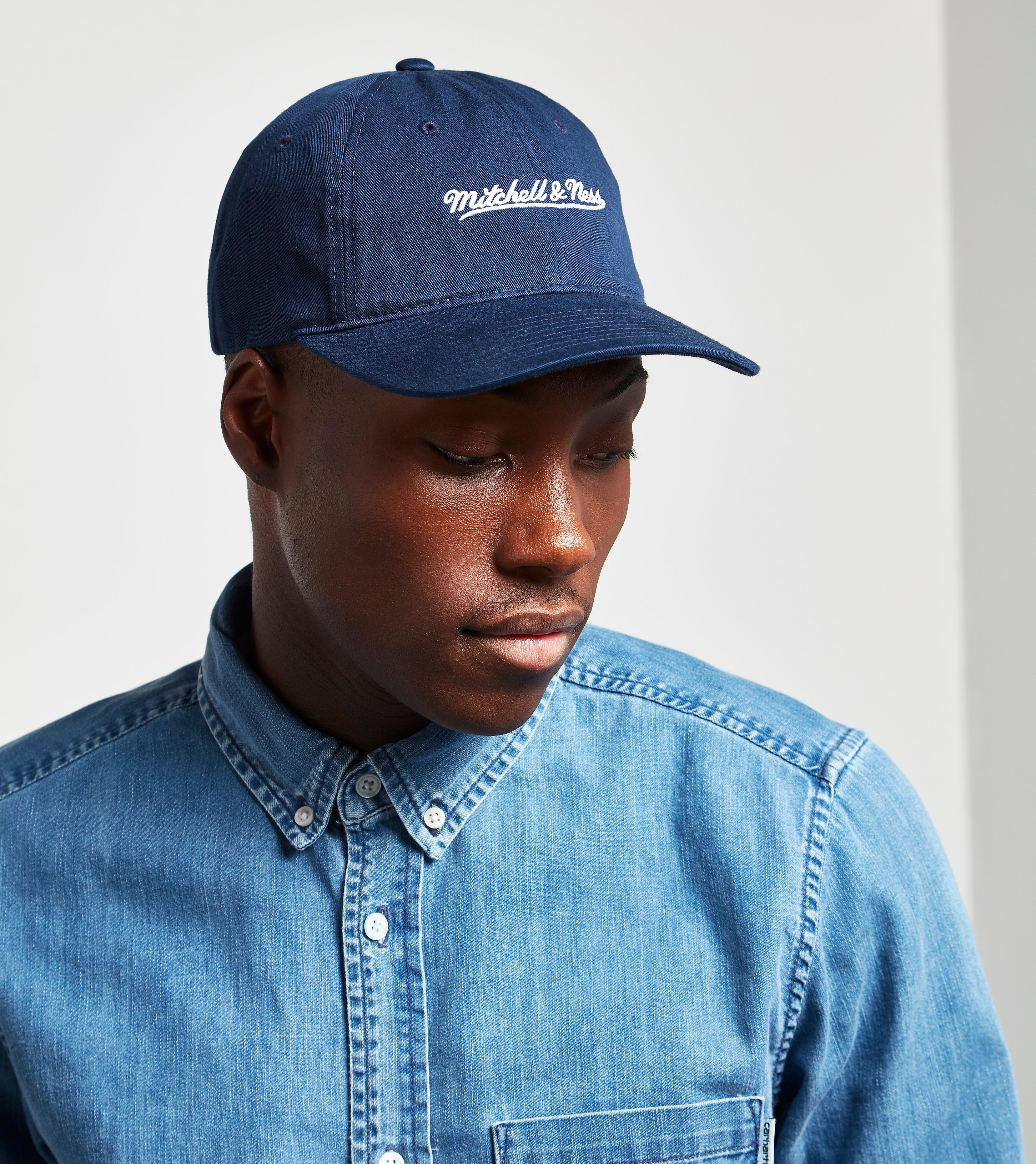 Mitchell & Ness Checked Curved Snapback Cap