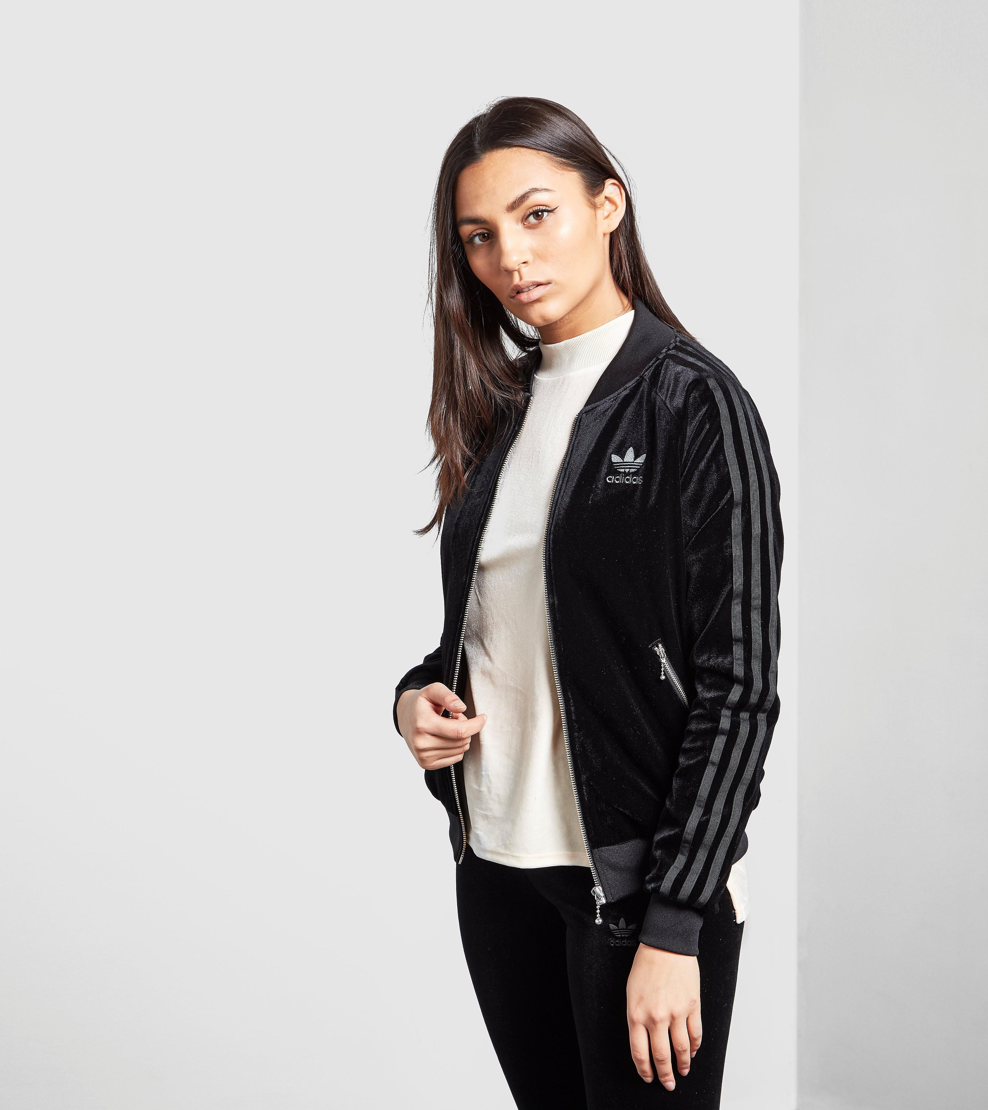 adidas Originals 3 Stripe Velvet Bomber Jacket