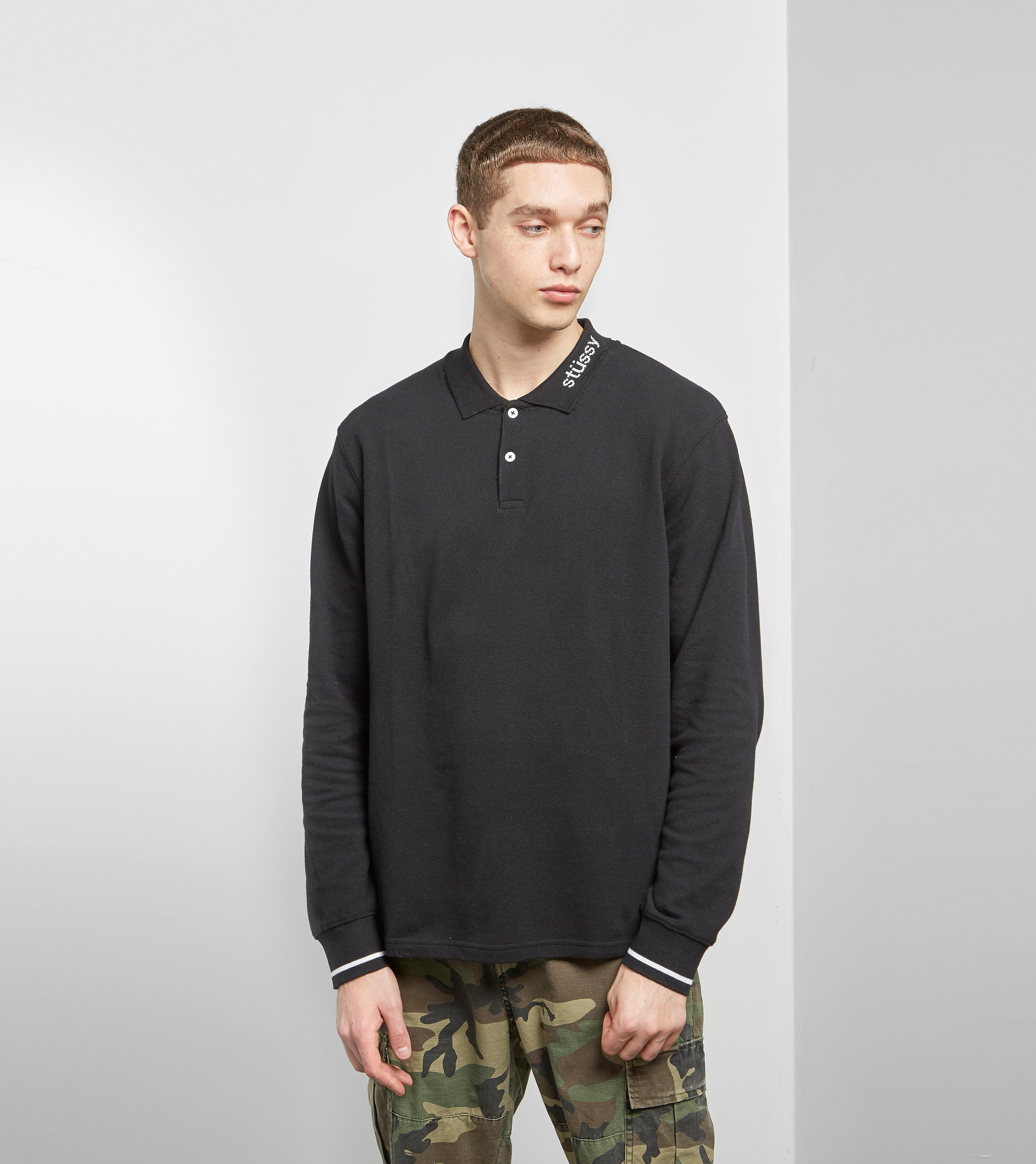 Stussy Pique Long Sleeved Polo Shirt