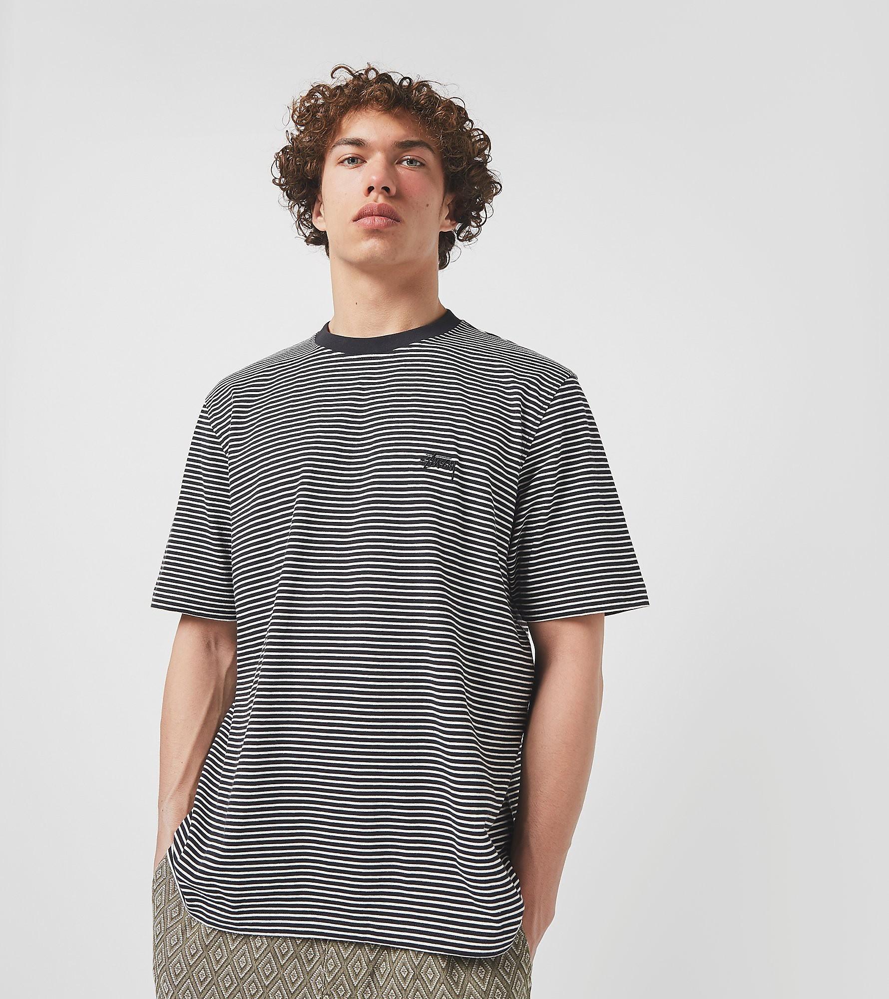 Stussy T-Shirt Mini Stripe, noir