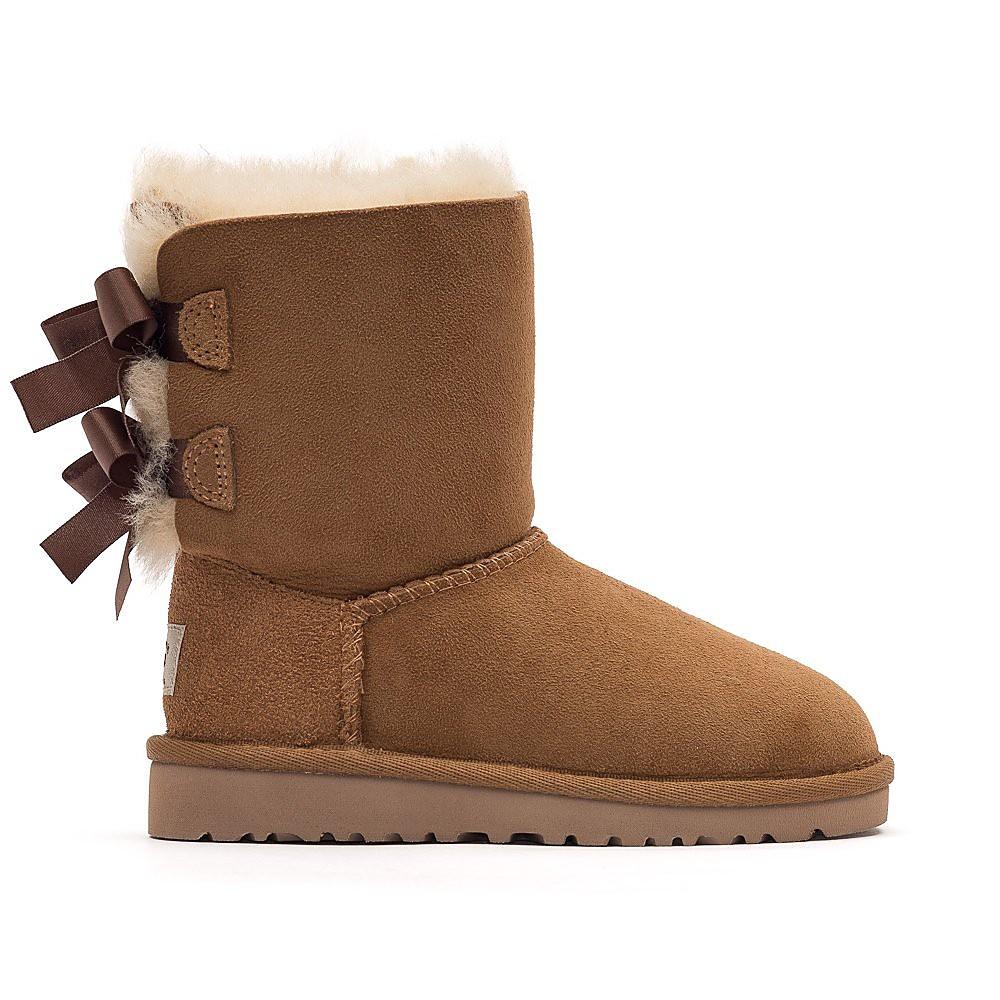 Ugg Infant Bailey Bow Sheepskin Boots - Chestnut