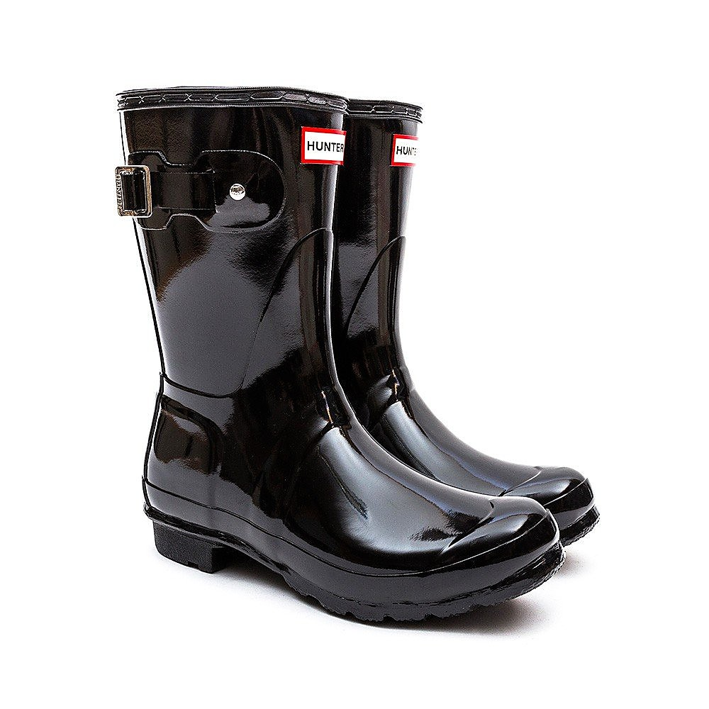 Hunter Wellies Womens Original Short Wellington Boots - Black Gloss