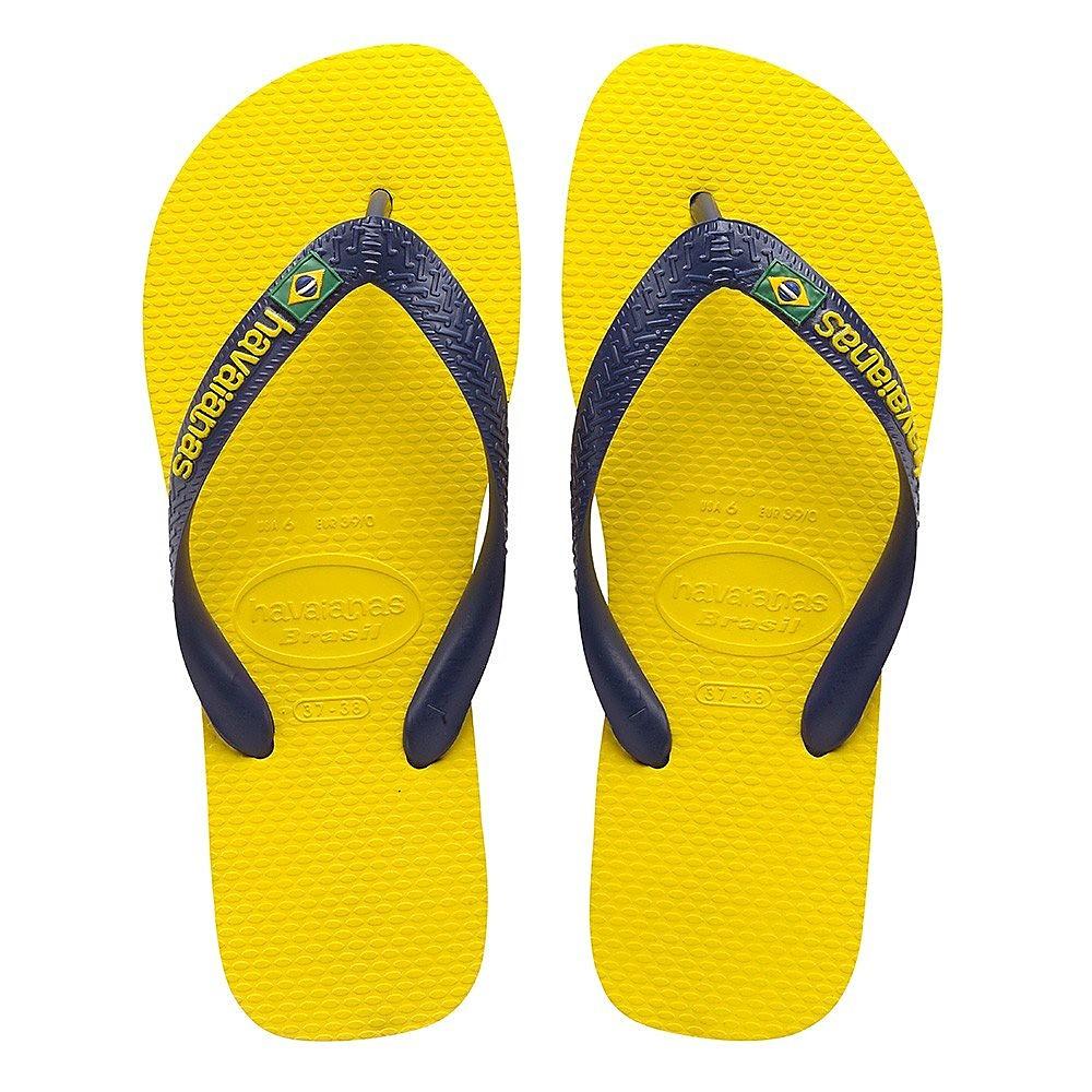Havaianas Mens Brasil Logo Flip Flops - Citrus Yellow