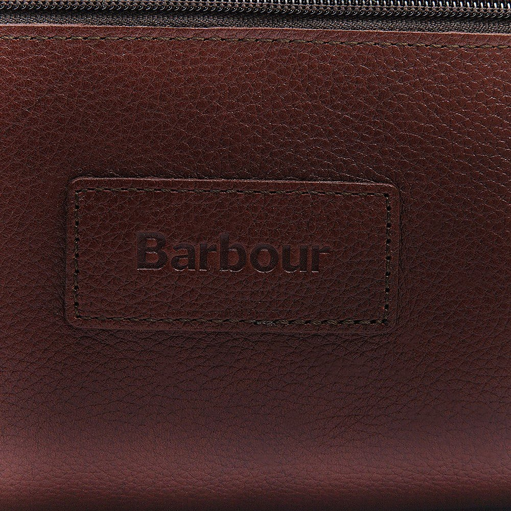 Barbour Leather Washbag - Dark