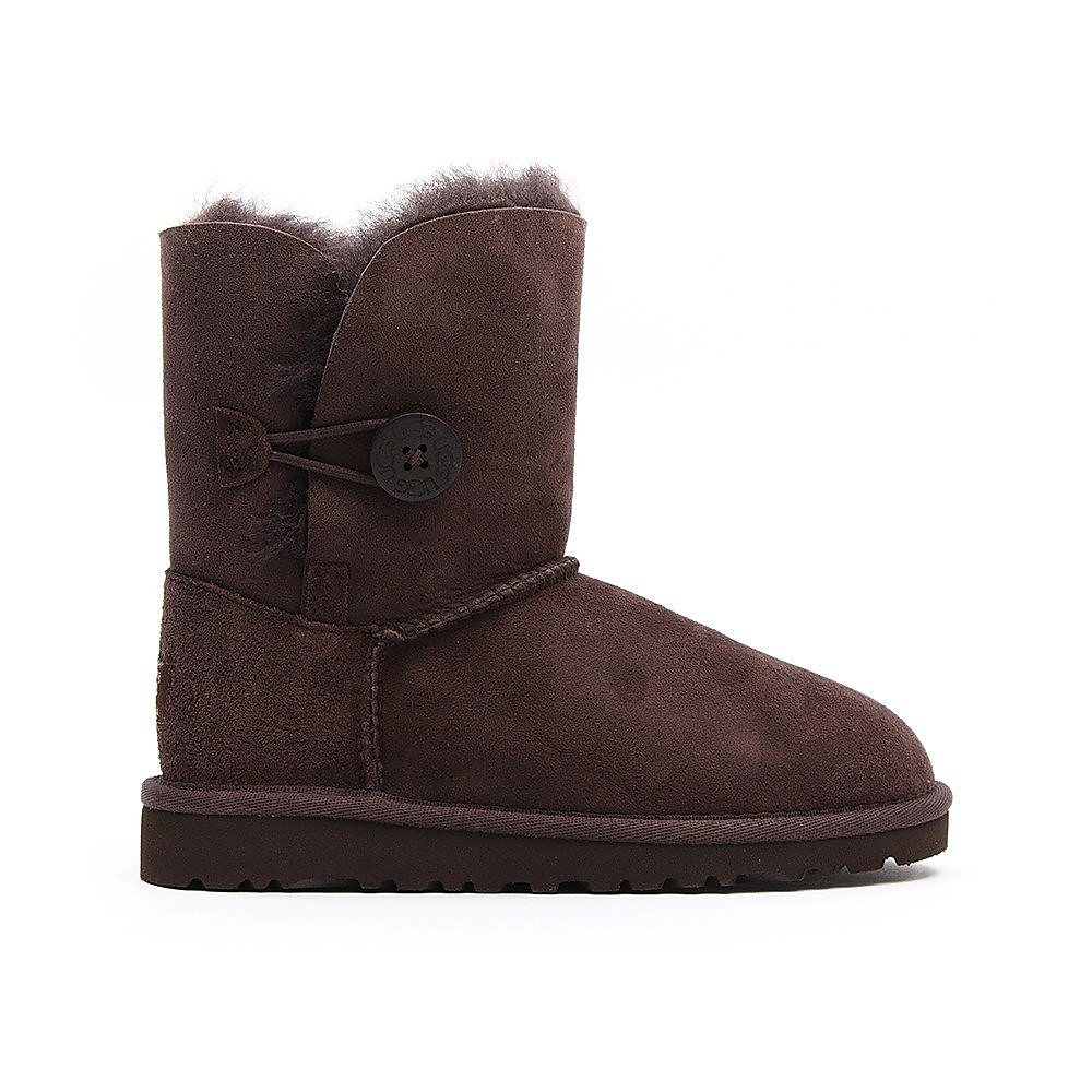 Ugg Infant Bailey Button Sheepskin Boots - Chocolate