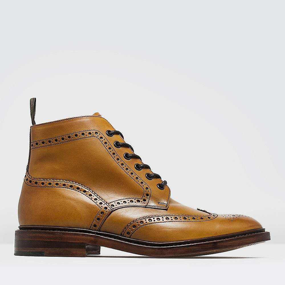 Loake Men's Burford Burnished Leather Brogue Boots - Tan