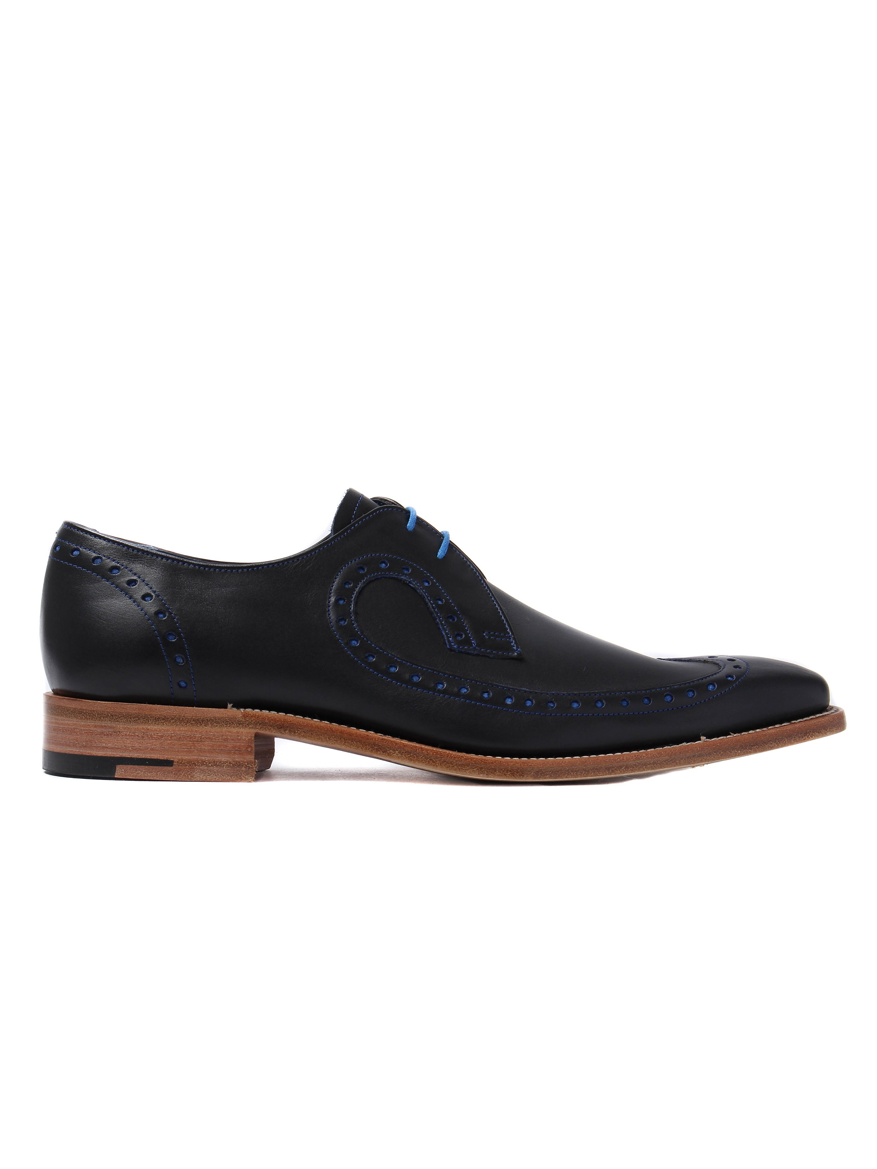 Barker Men's Woody Leather Long-Wing Brogues - Navy