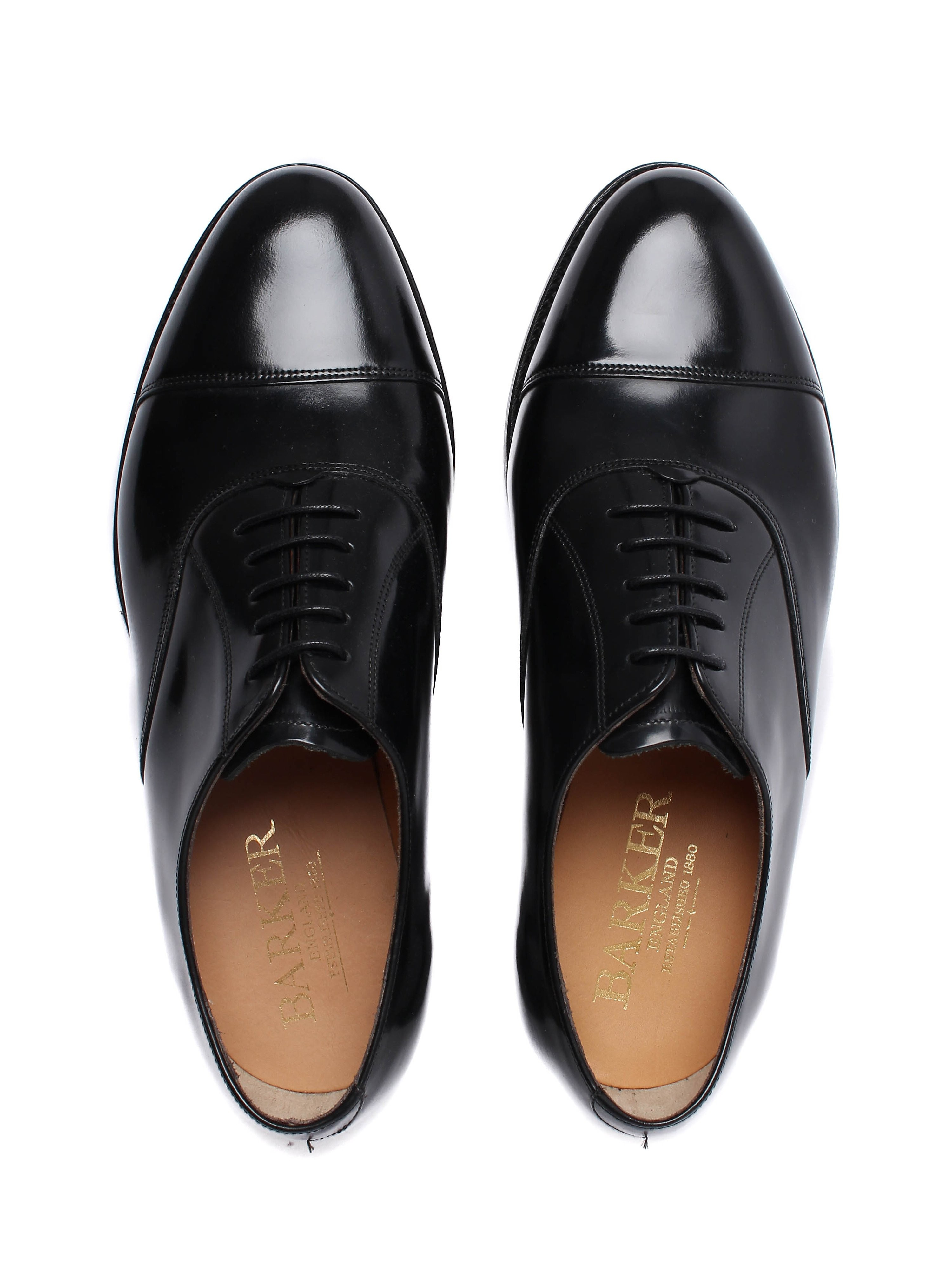 Barker Men's Arnold Leather Cap-Toe Derby Shoes - Black