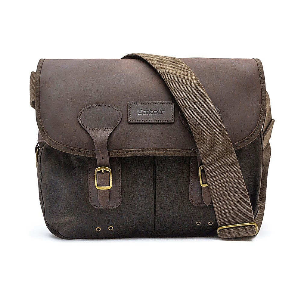 Barbour Tarras Wax Leather Satchel Bag - Olive