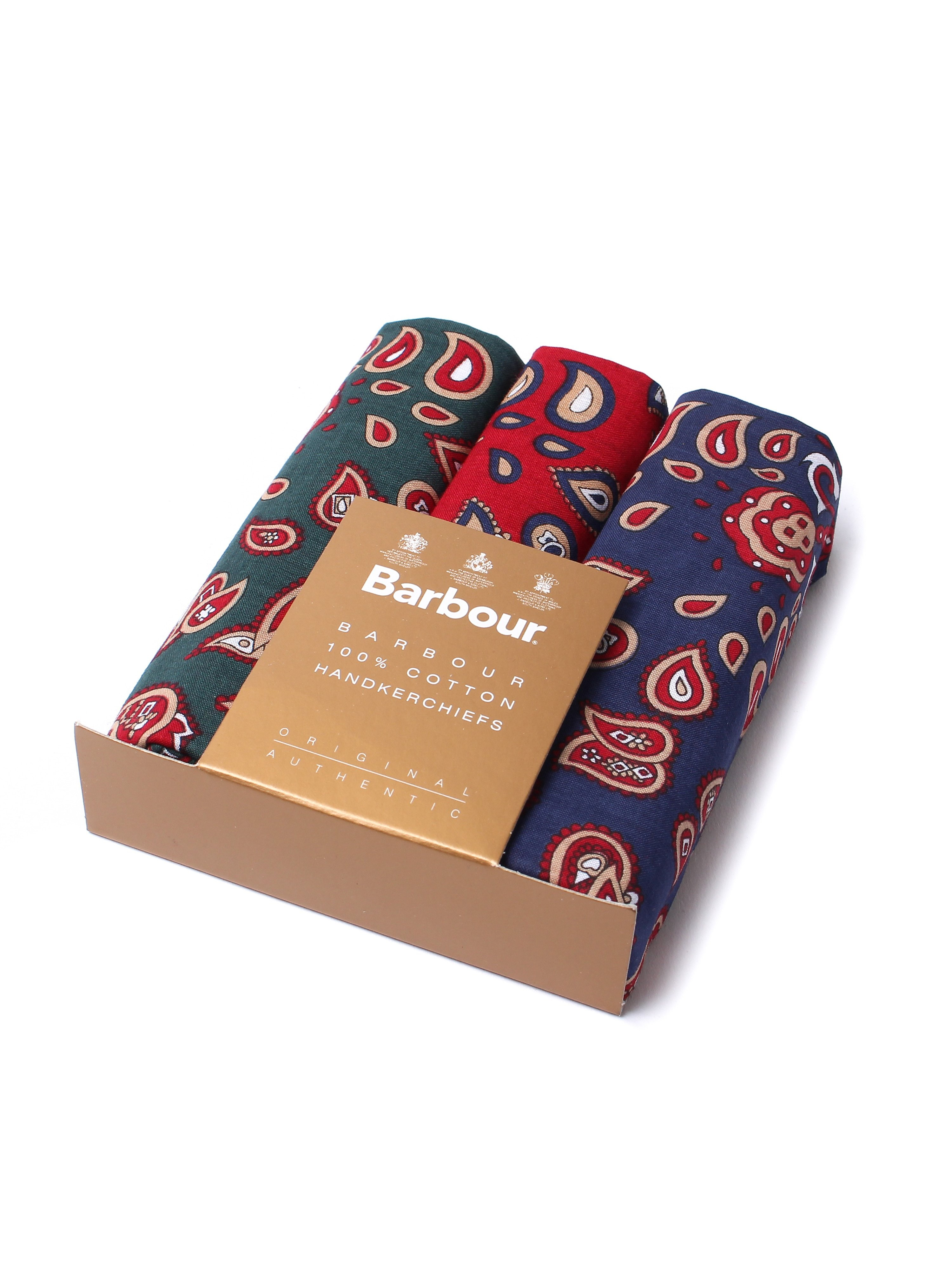 Barbour 3 Pack Paisley Cotton Handkerchiefs - Red, Blue & Green