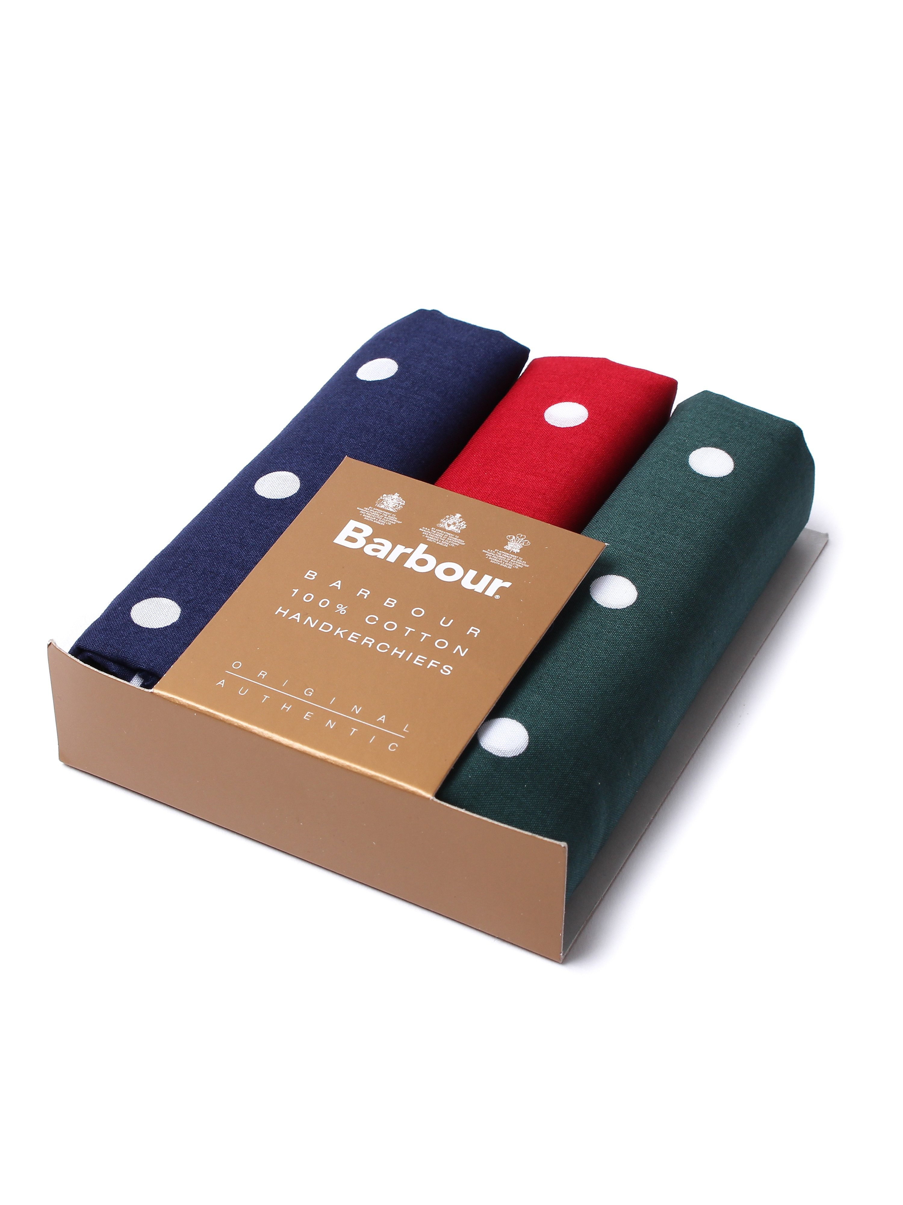 Barbour 3 Pack Spotted Cotton Handkerchiefs - Red, Blue & Green