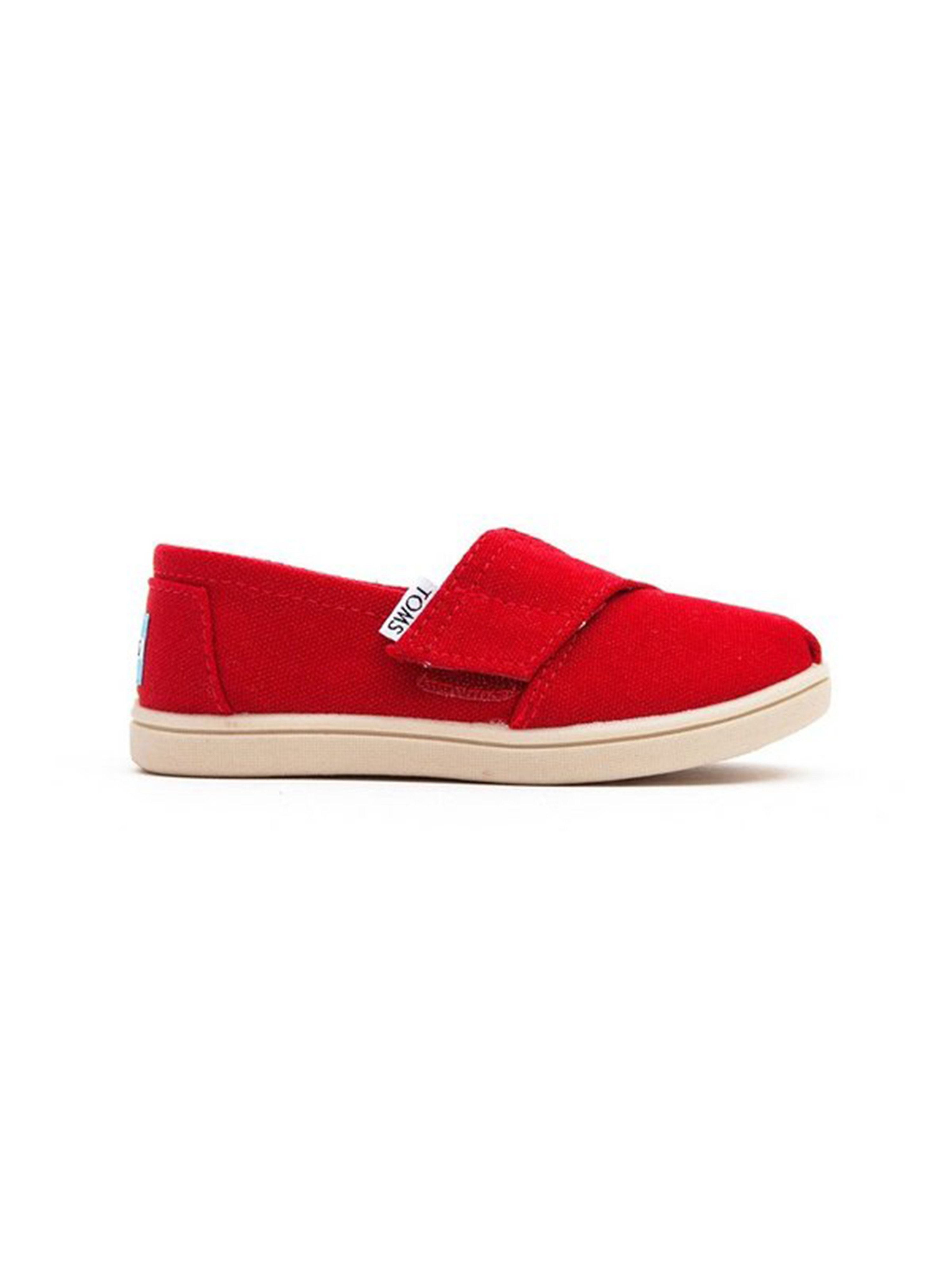 Toms Kid's Classic Canvas Velcro Shoes - Red