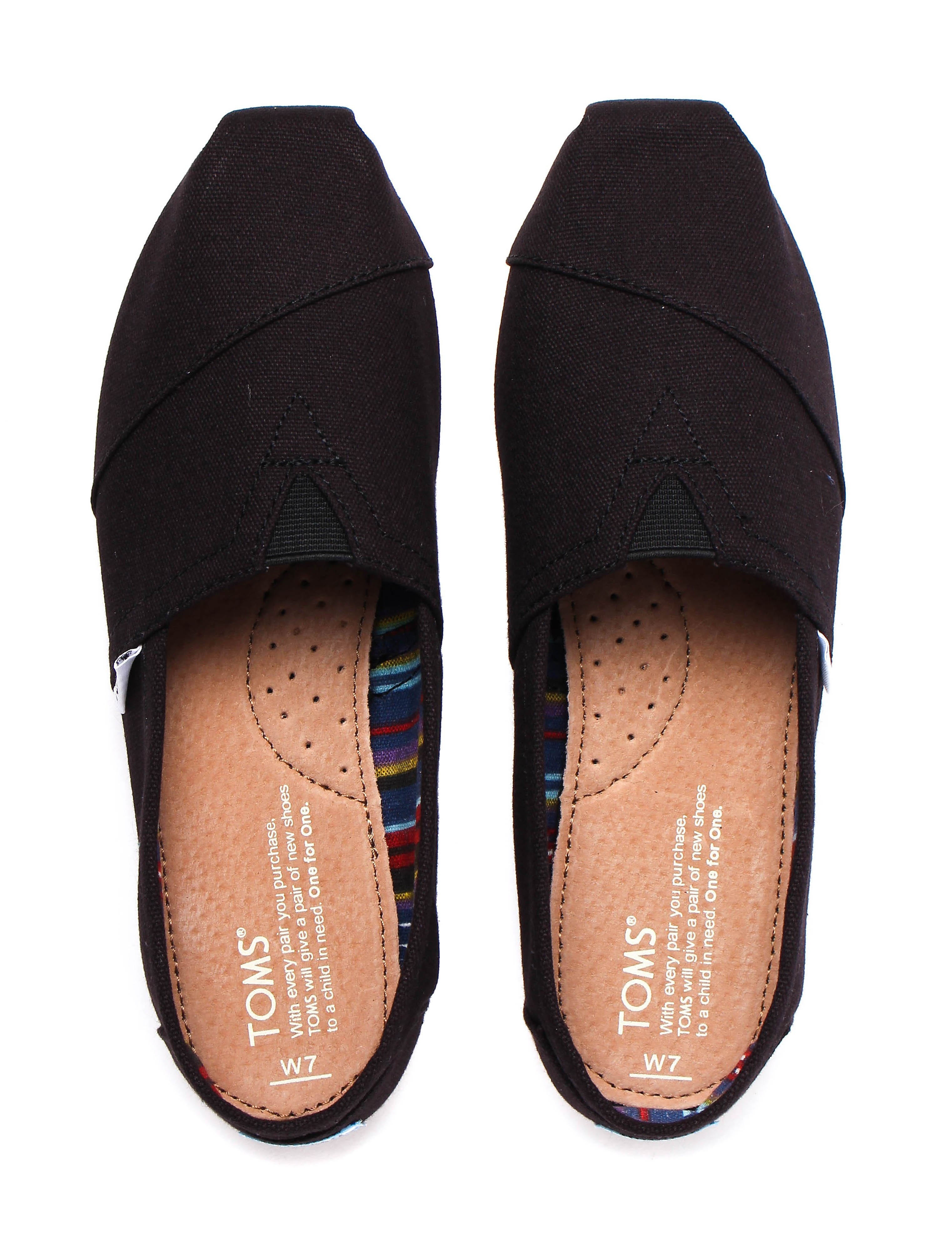 Toms Womens Classic Canvas Slip-On Shoes - Black