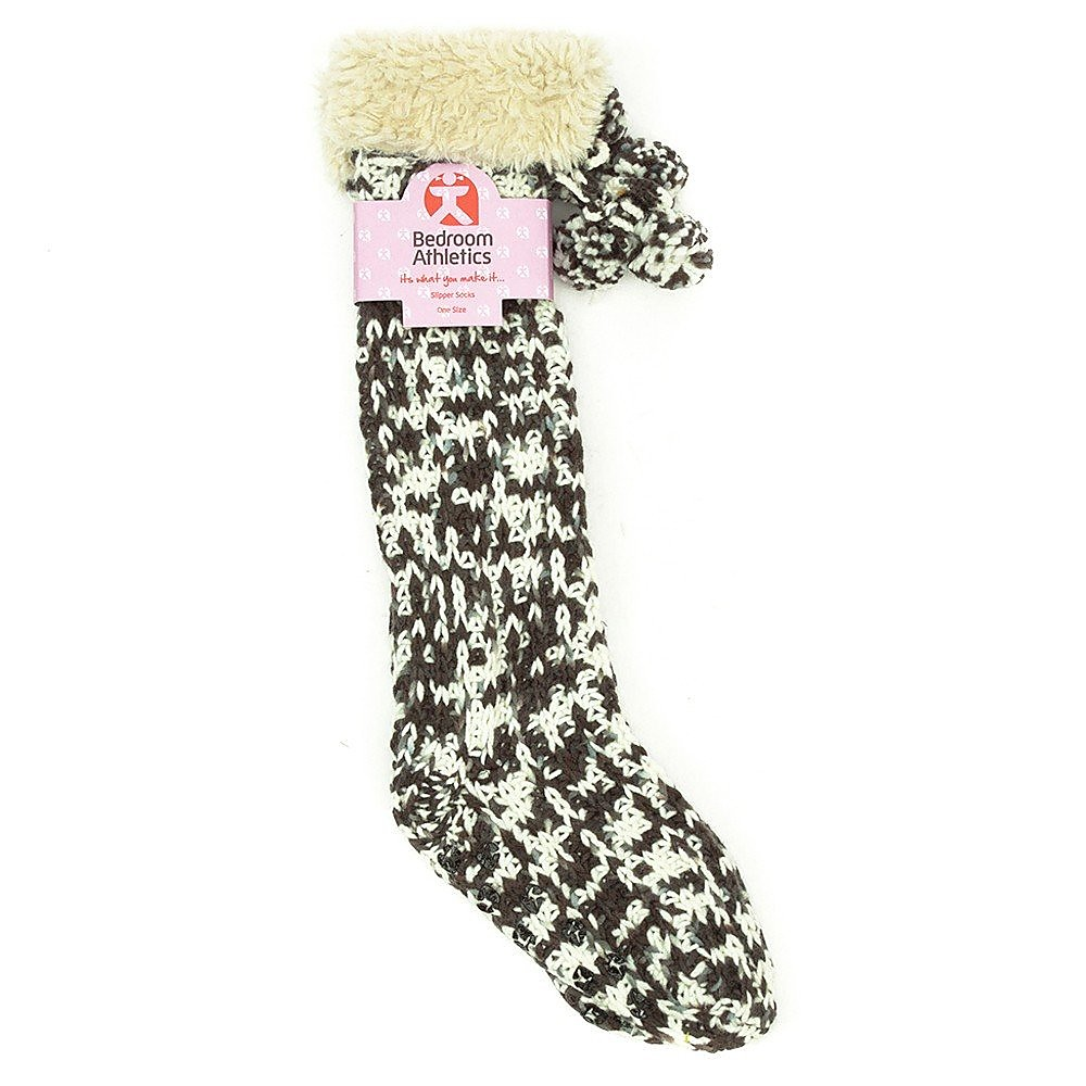 Bedroom Athletics Geena Slipper Socks - Grey Fur Trimmed - One