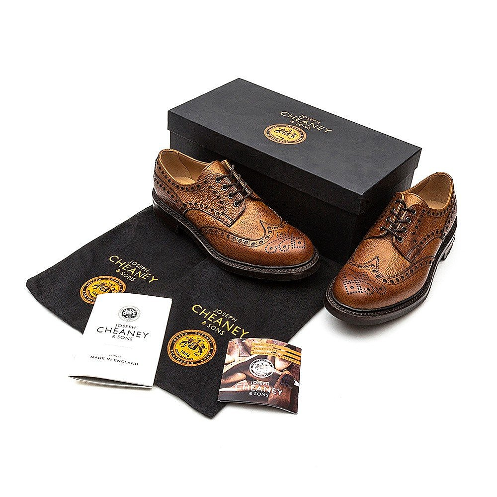 Cheaney Men's Avon C Leather Brogues - Almond