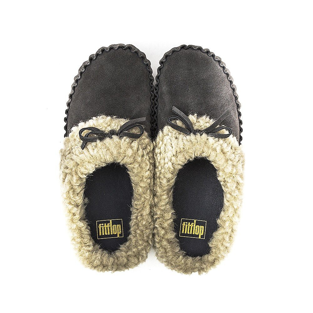 FitFlop Womens Cuddler Snugmoc Slippers - Charcoal