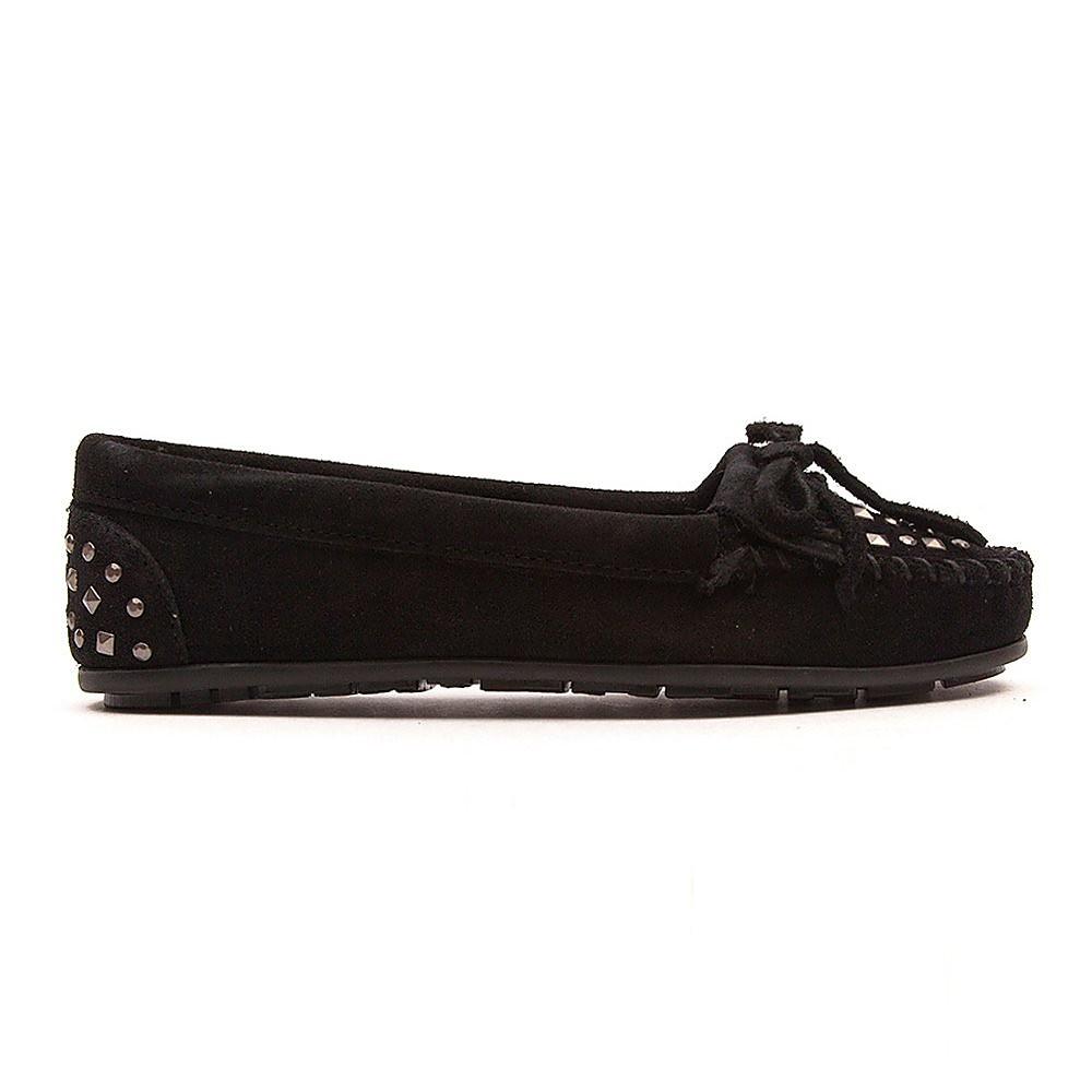 Minnetonka Double Studded Moc Black