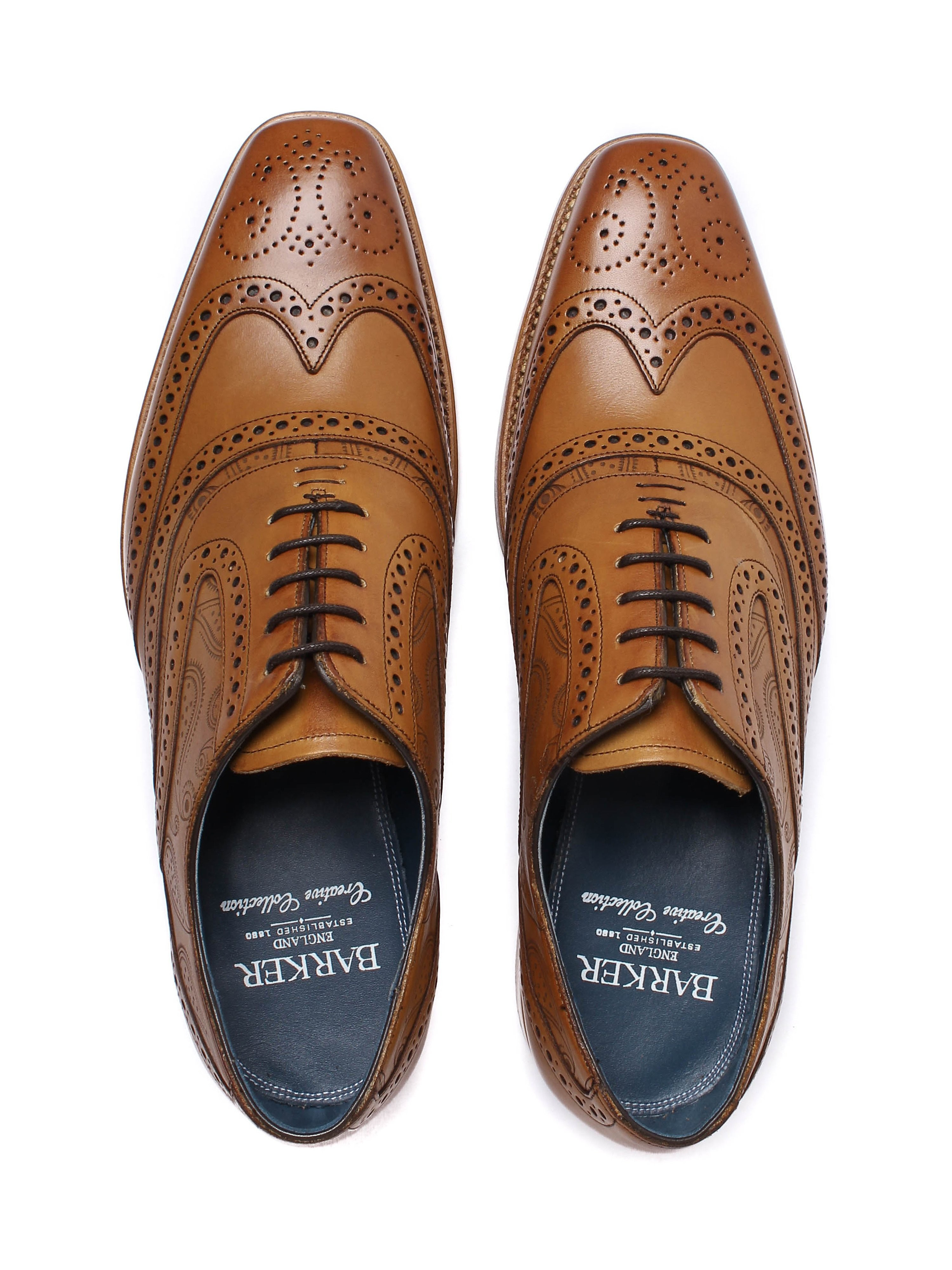 Barker Men's McClean Paisley Leather Oxford Brogues - Cedar