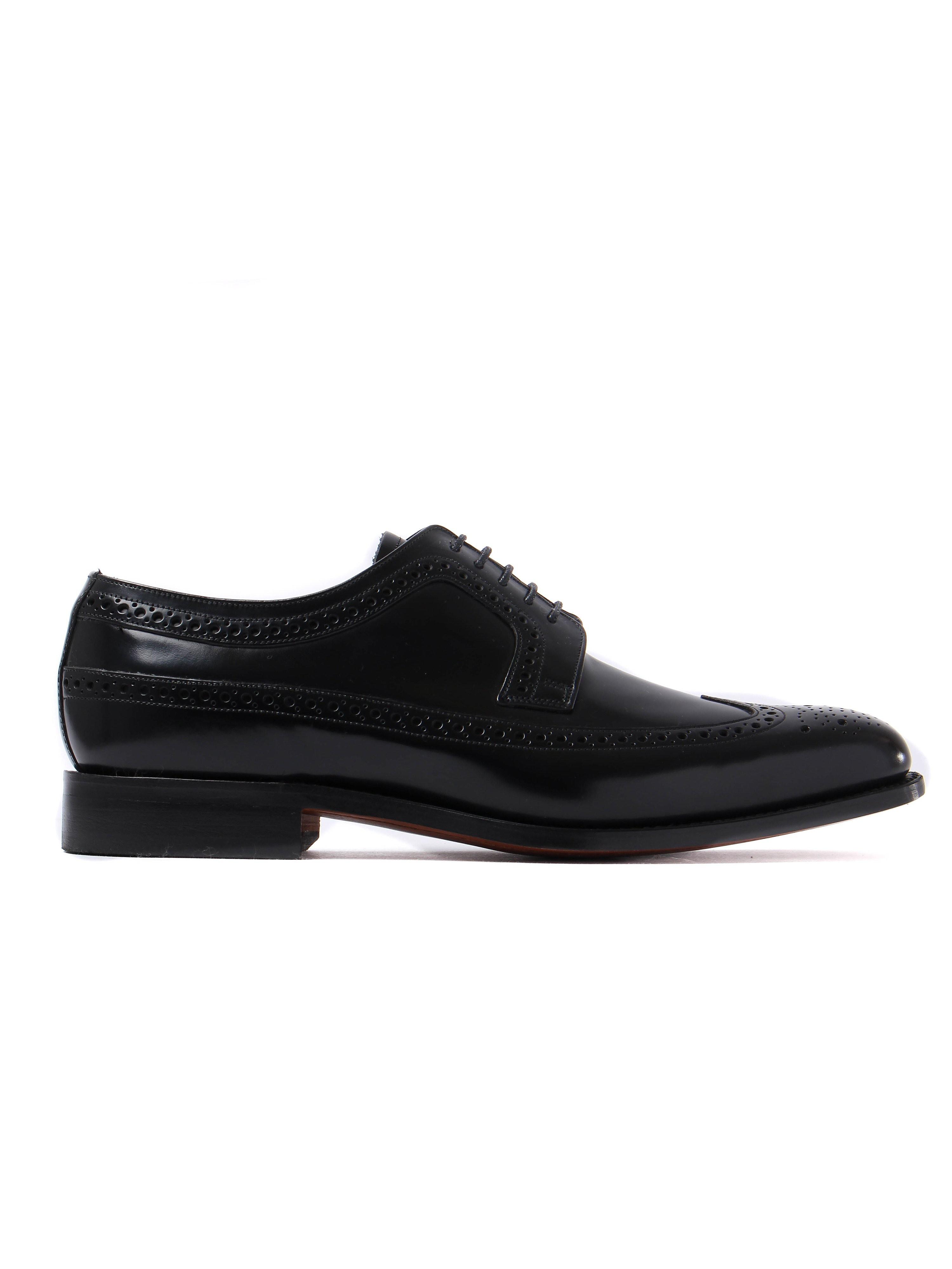 Barker Men's Woodbridge Leather Blucher Brogue - Black