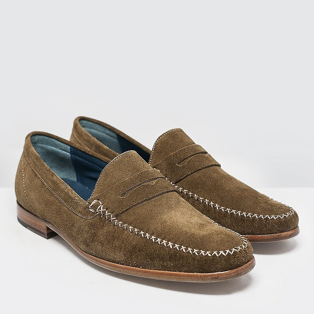 Barker Mens William Loafers - Khaki Suede