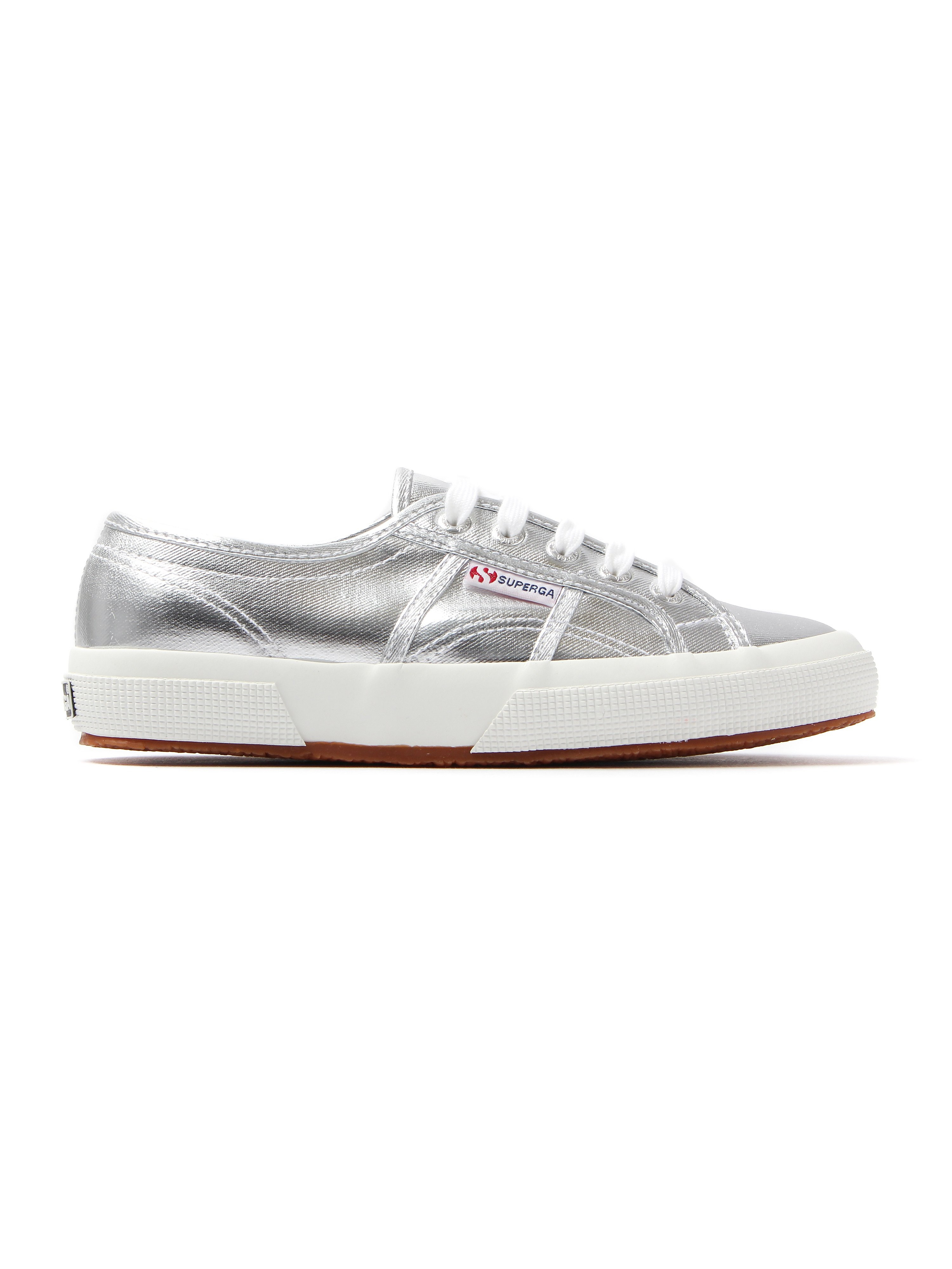 Superga Women's 2750 Metu Metallic Canvas Trainers - Silver