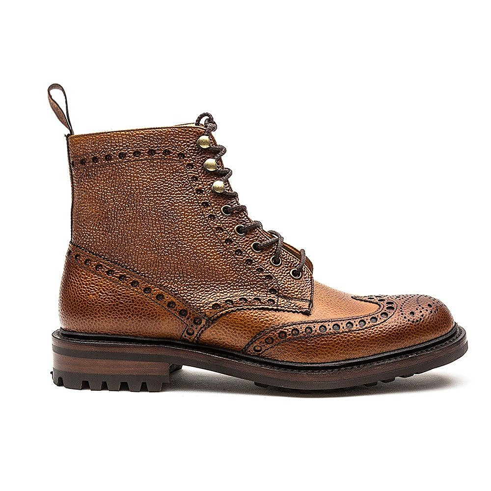 Cheaney Men's Tweed C Leather Brogue Boots - Almond
