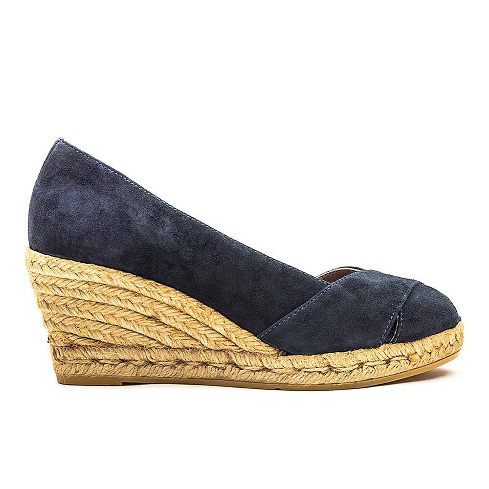 Vidorreta Womens Peep Toe Wedge Shoes - Navy