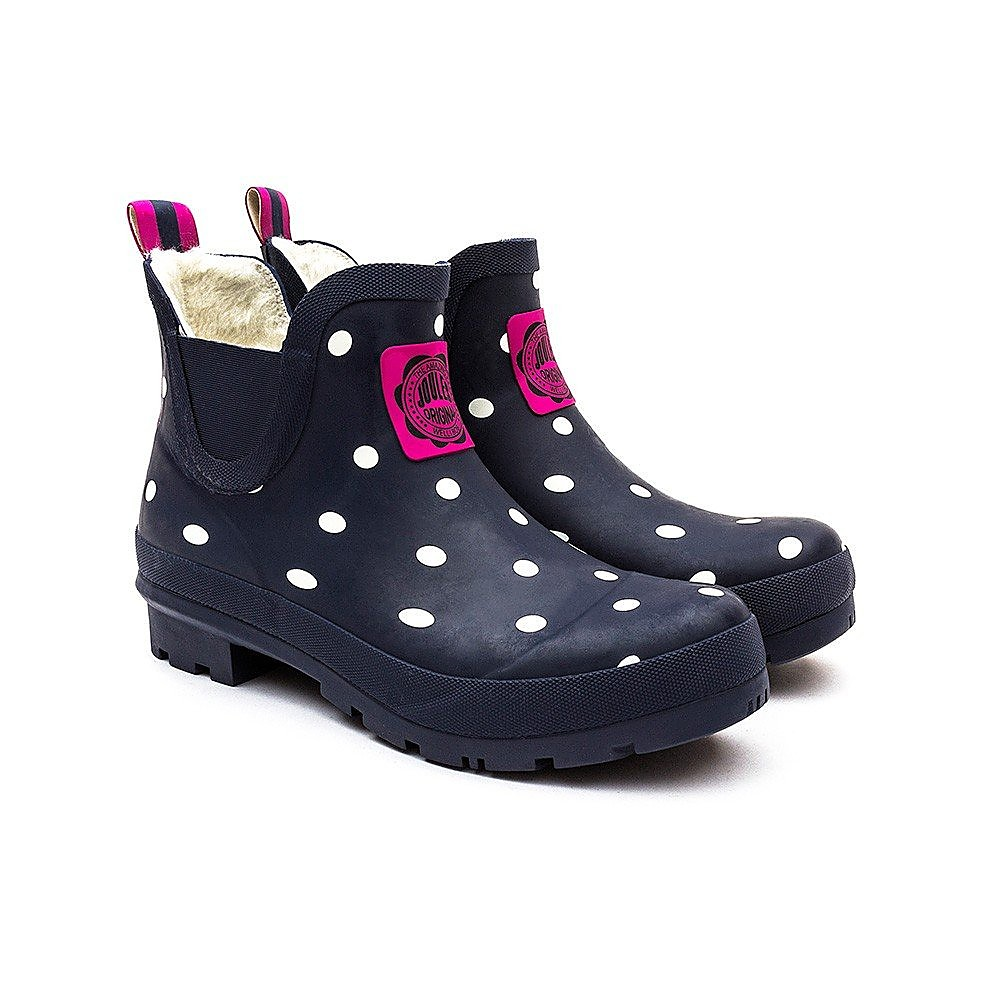Joules Women's Wellibob Polka Dot Ankle Wellies - Navy Spot