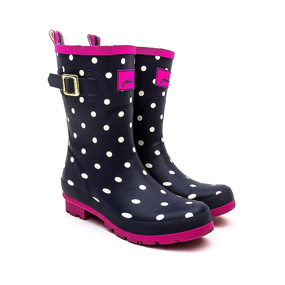 Joules Women's Molly Spot Rubber Mid-Height Wellington Boots - Navy