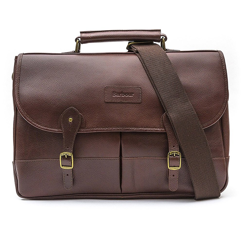 Barbour Leather Briefcase - Dark