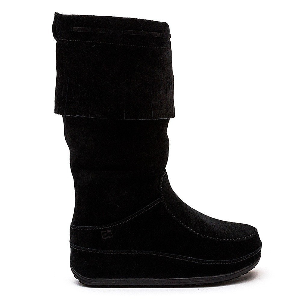 FitFlop Mukluk Fringed Knee-High Boots - All Black